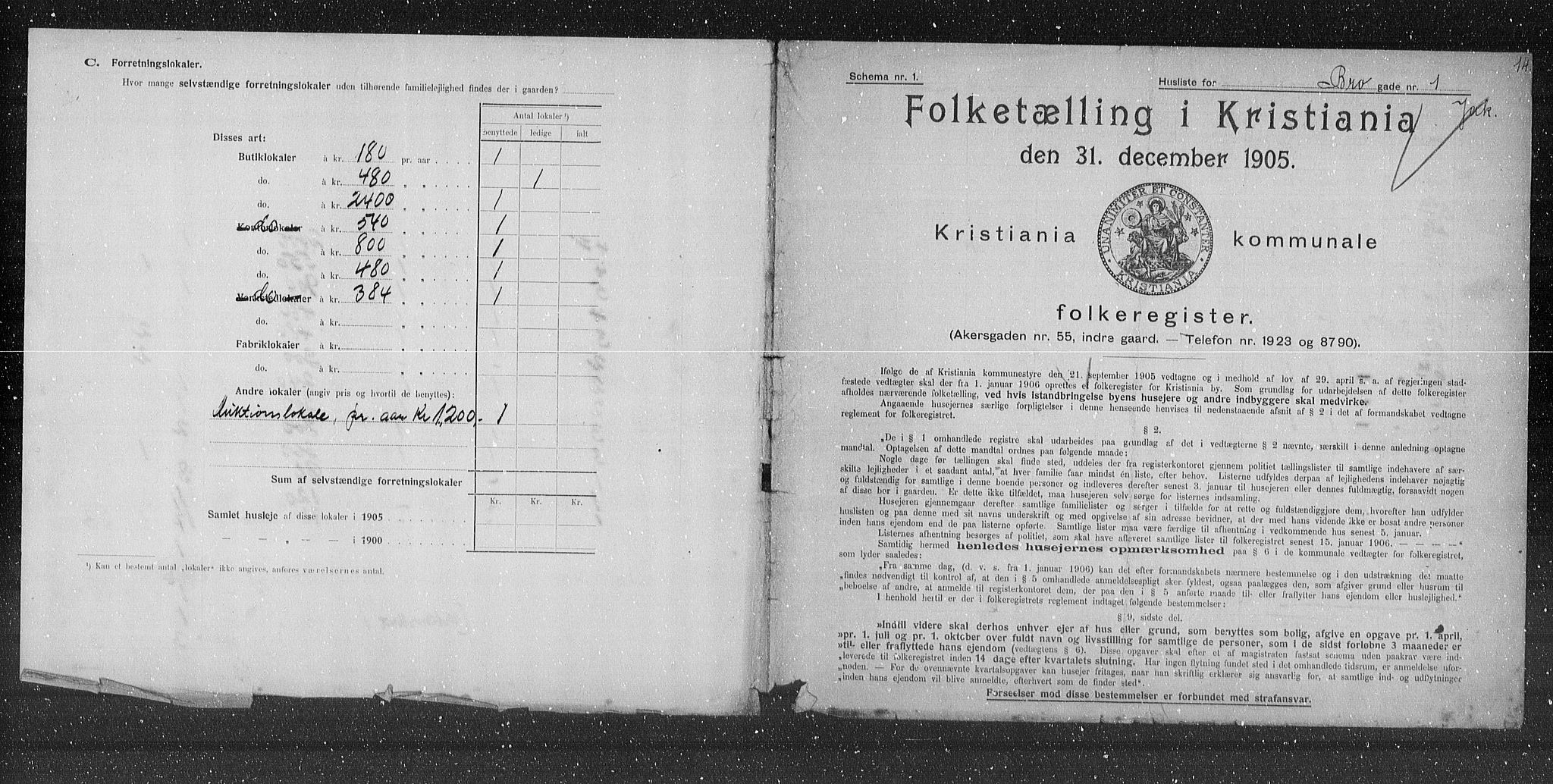 OBA, Kommunal folketelling 1905 for Kristiania kjøpstad, 1905, s. 4877