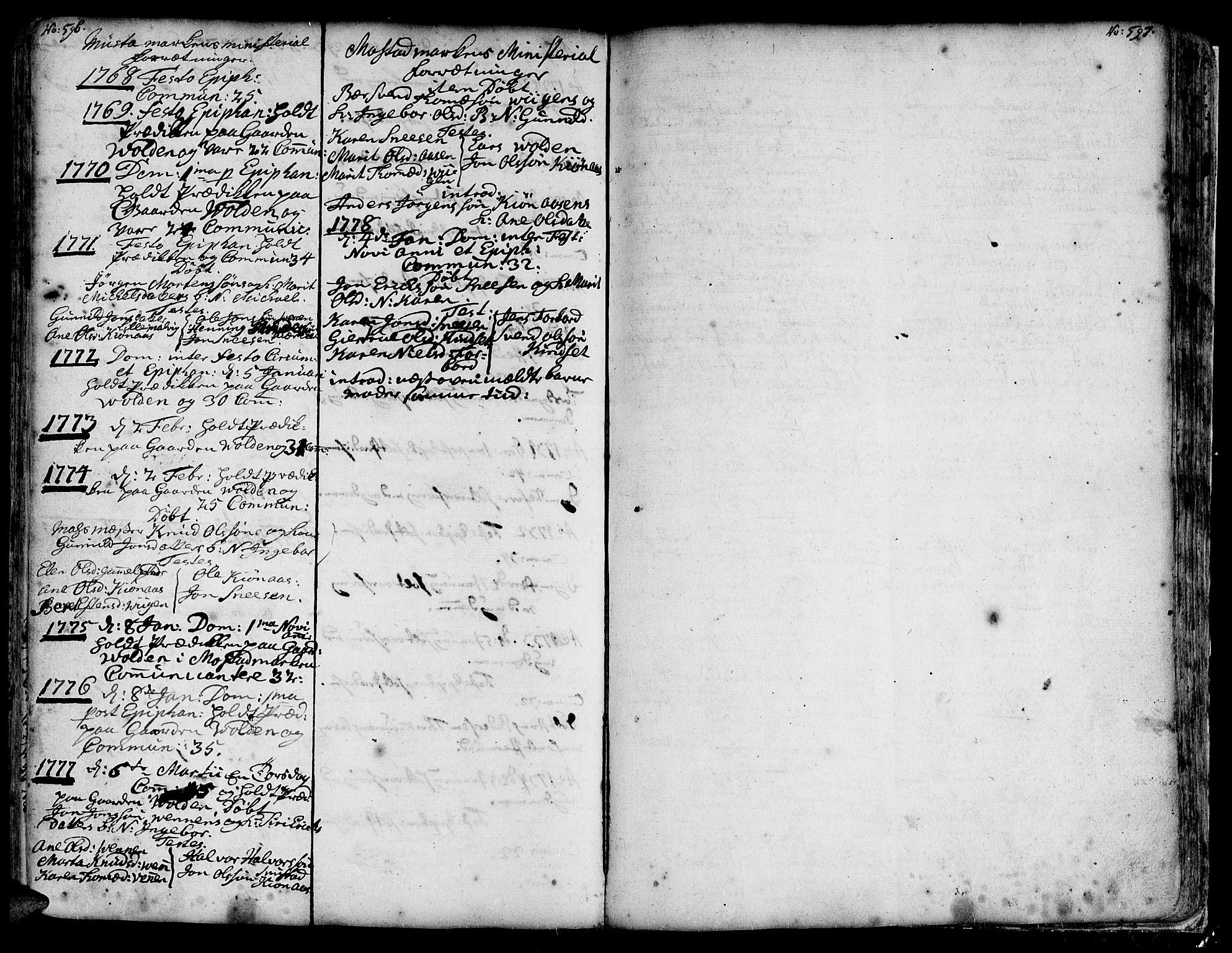 SAT, Ministerialprotokoller, klokkerbøker og fødselsregistre - Sør-Trøndelag, 606/L0279: Ministerialbok nr. 606A01 /5, 1728-1778, s. 596-597