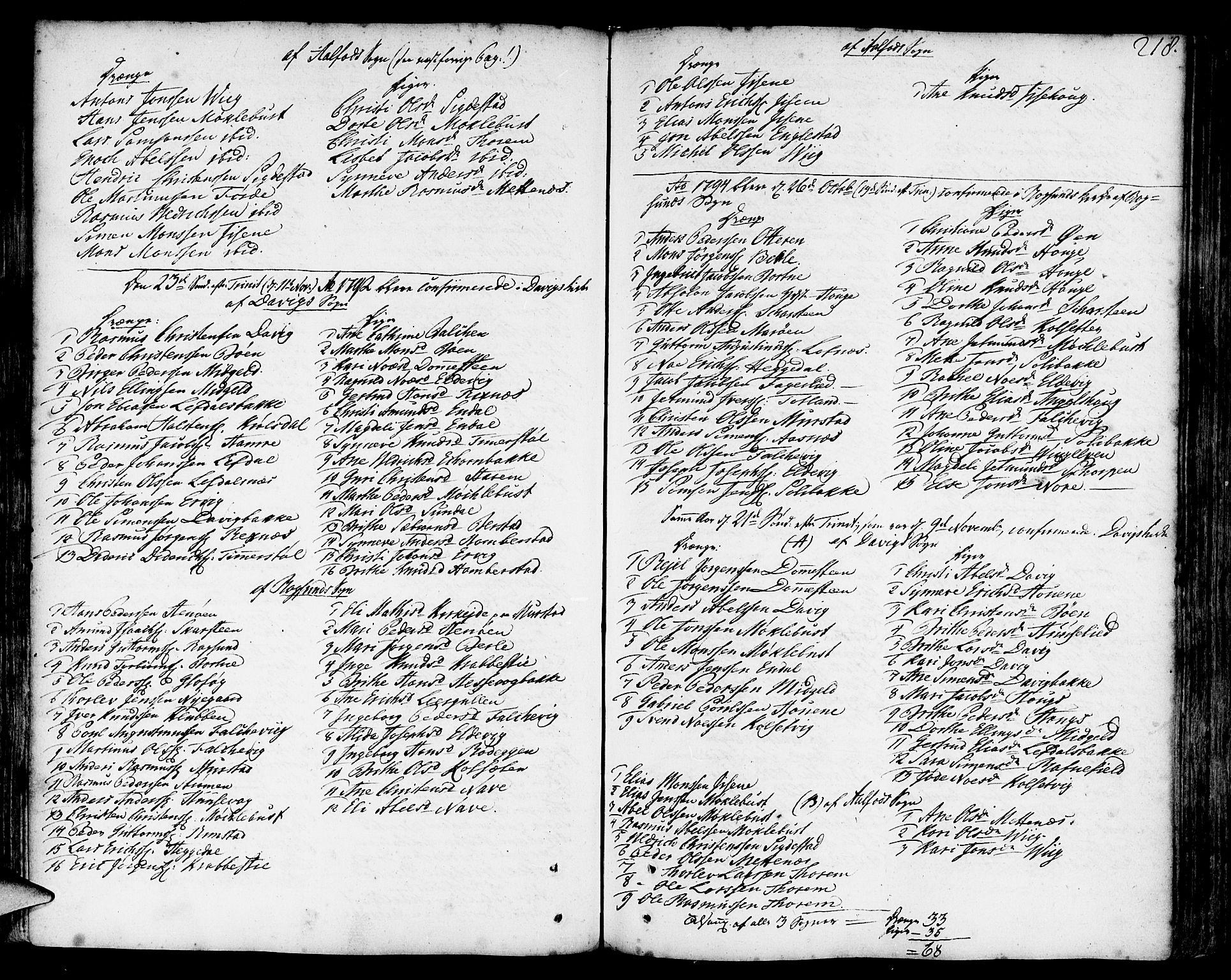 SAB, Davik Sokneprestembete, Ministerialbok nr. A 2, 1742-1816, s. 218
