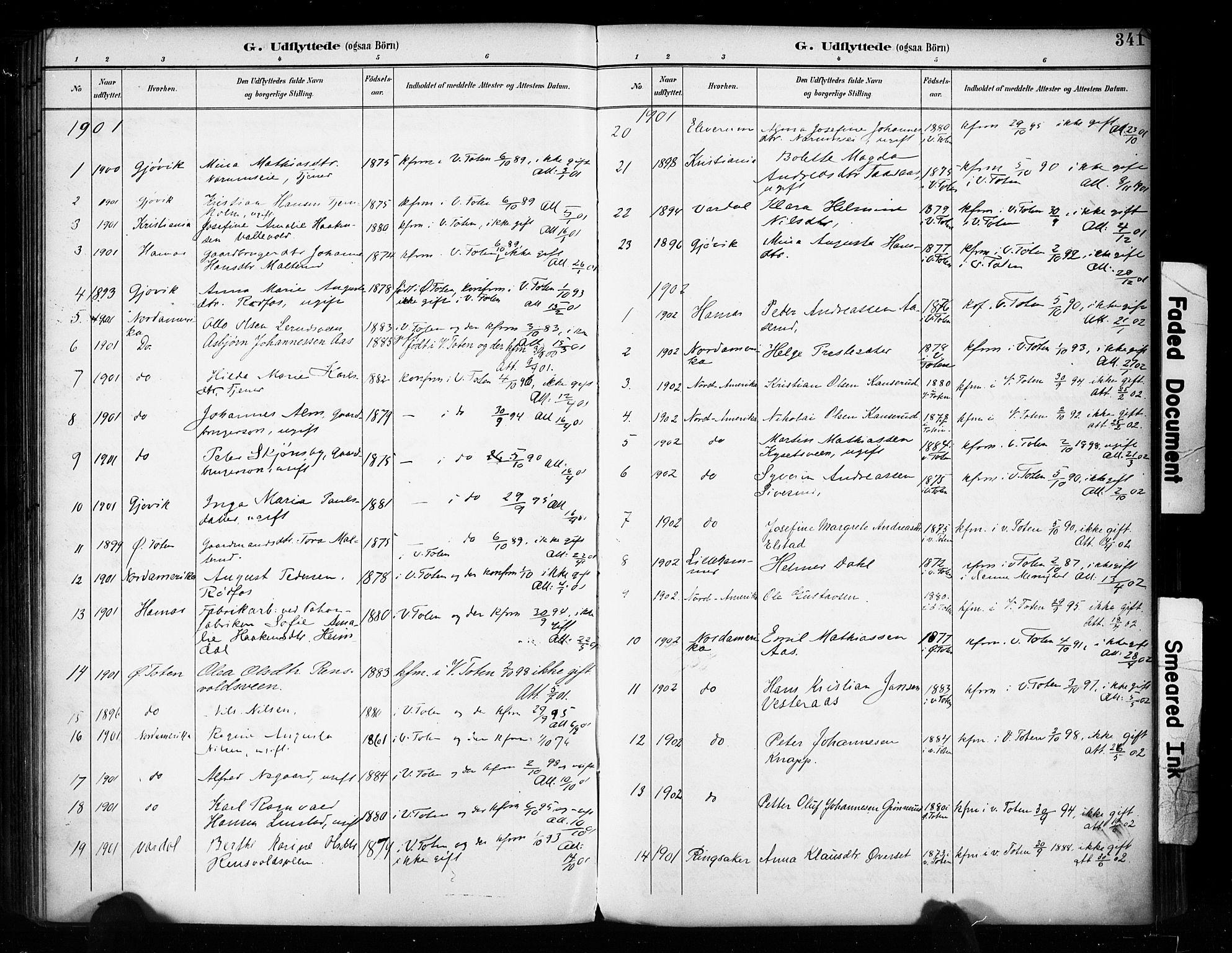 SAH, Vestre Toten prestekontor, H/Ha/Haa/L0011: Ministerialbok nr. 11, 1895-1906, s. 341