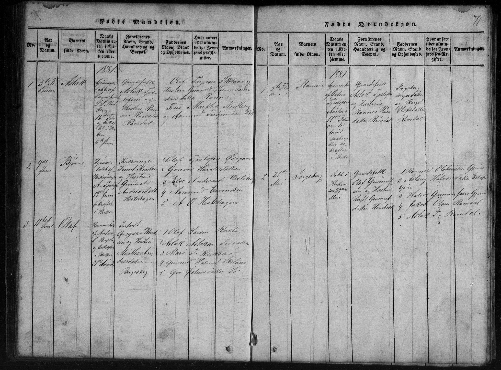 SAKO, Rauland kirkebøker, G/Gb/L0001: Klokkerbok nr. II 1, 1815-1886, s. 71