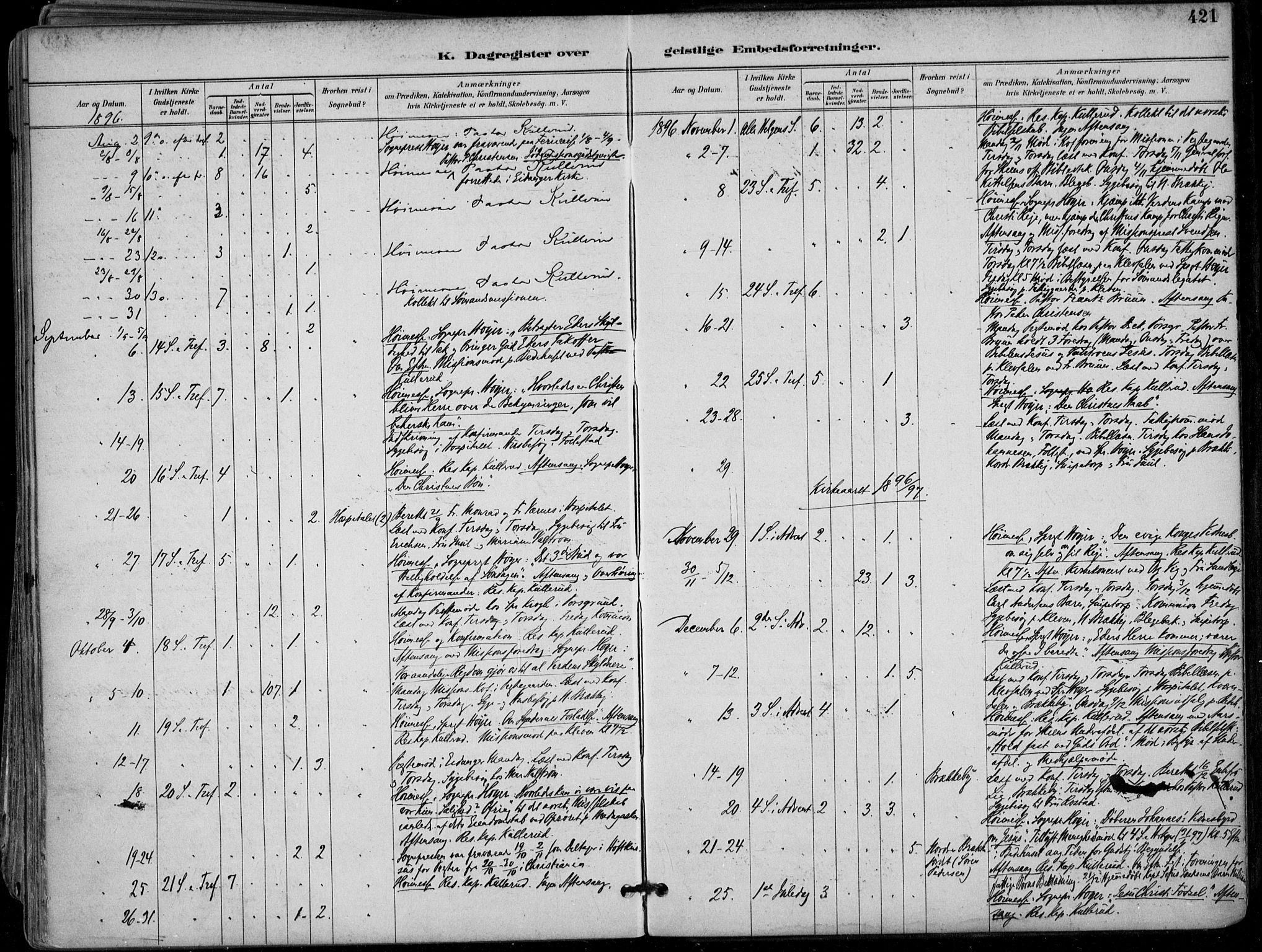 SAKO, Skien kirkebøker, F/Fa/L0010: Ministerialbok nr. 10, 1891-1899, s. 421