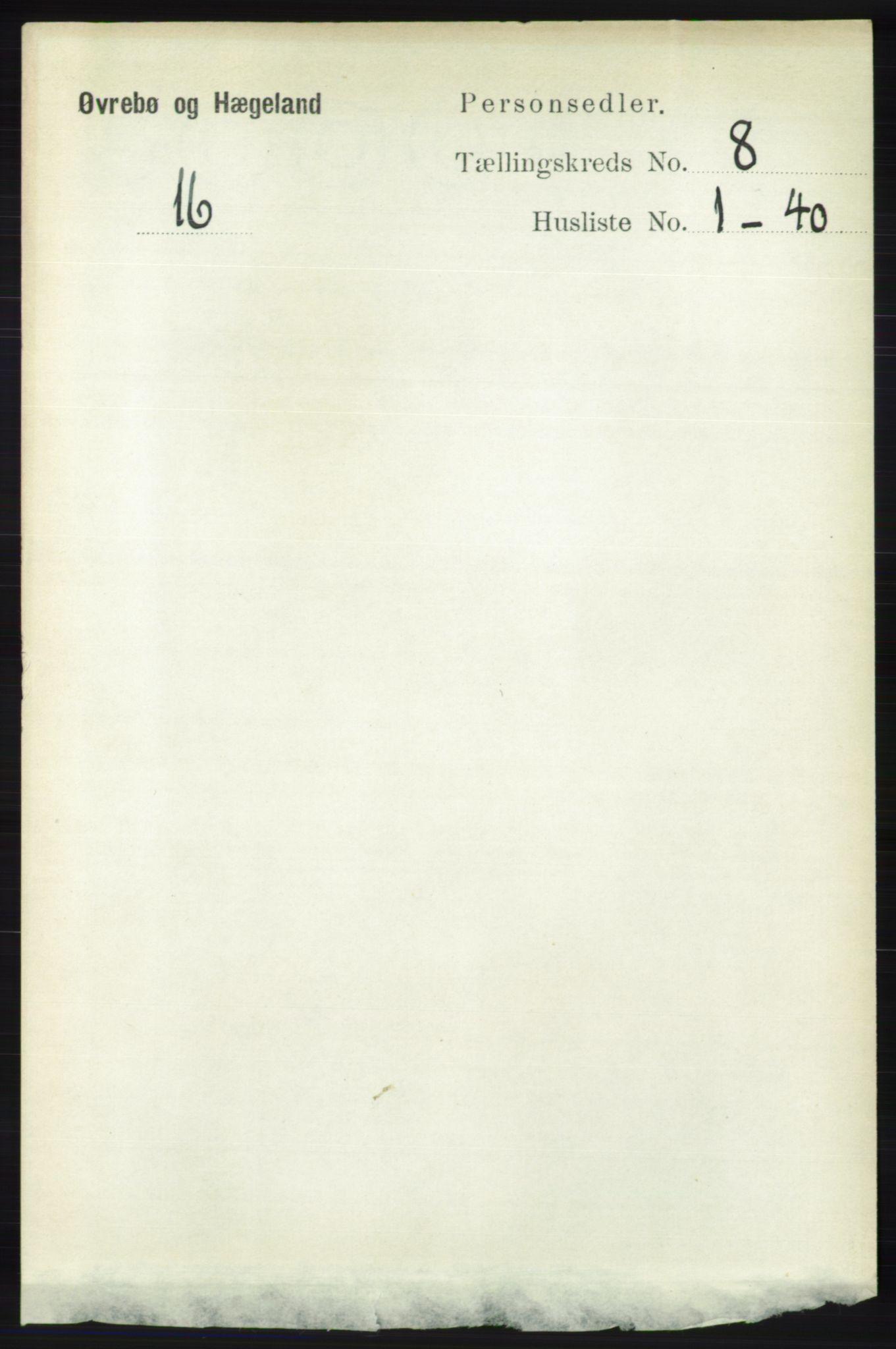 RA, Folketelling 1891 for 1016 Øvrebø og Hægeland herred, 1891, s. 1474