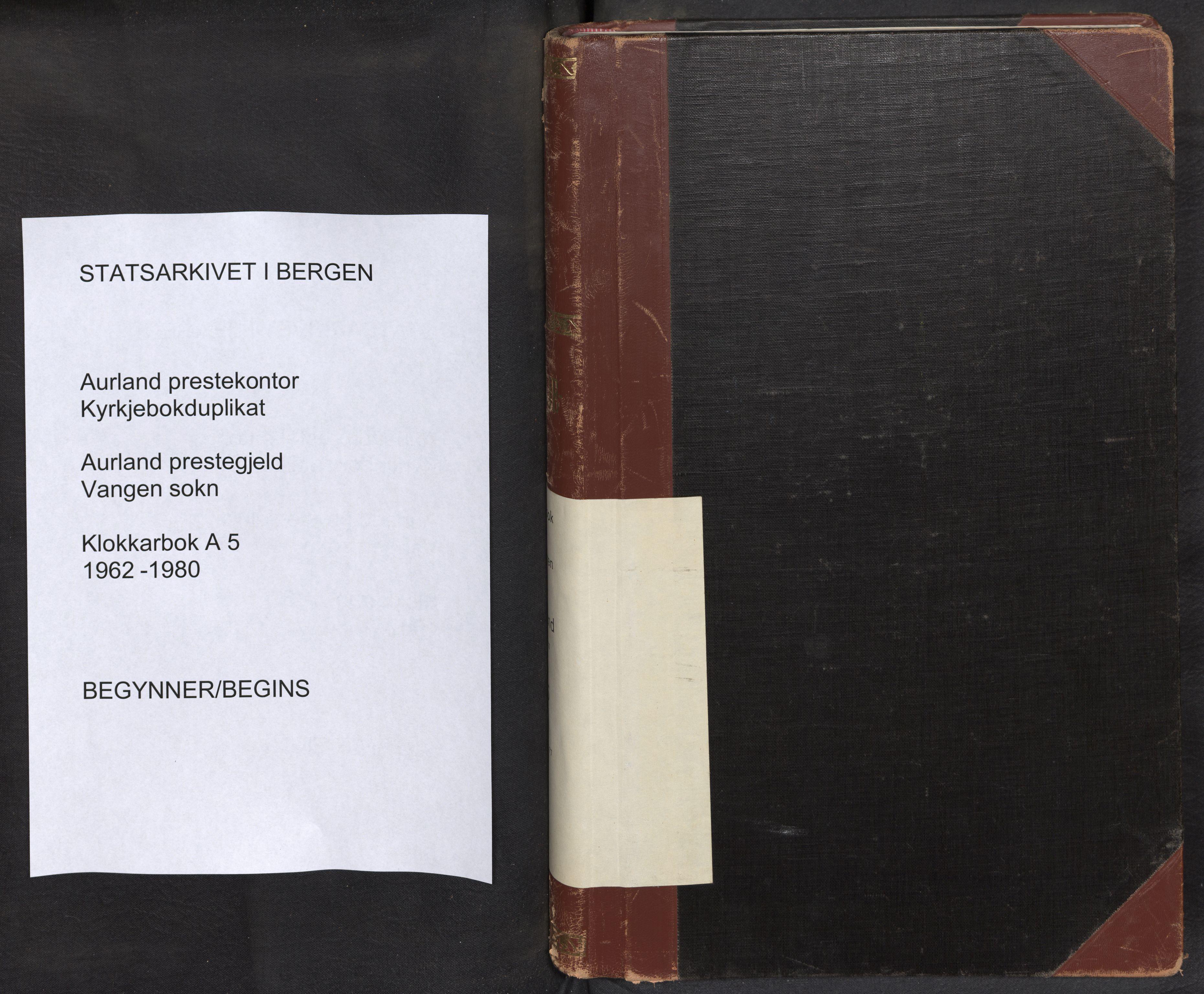 SAB, Aurland Sokneprestembete*, Klokkerbok nr. A 5, 1962-1980