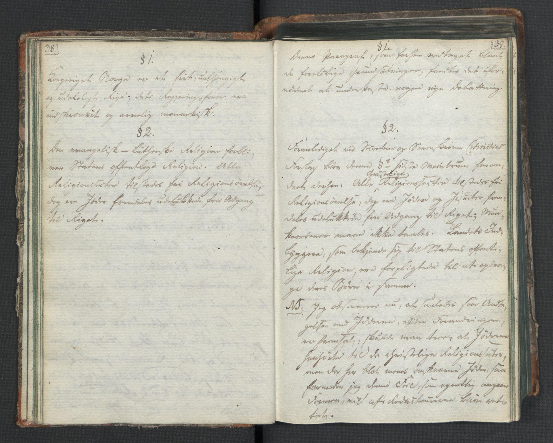 RA, Manuskriptsamlingen, H/L0021: Byfogd Gregers Winther Wulfbergs dagbok under Riksforsamlingen på Eidsvoll, 1814, s. 38-39