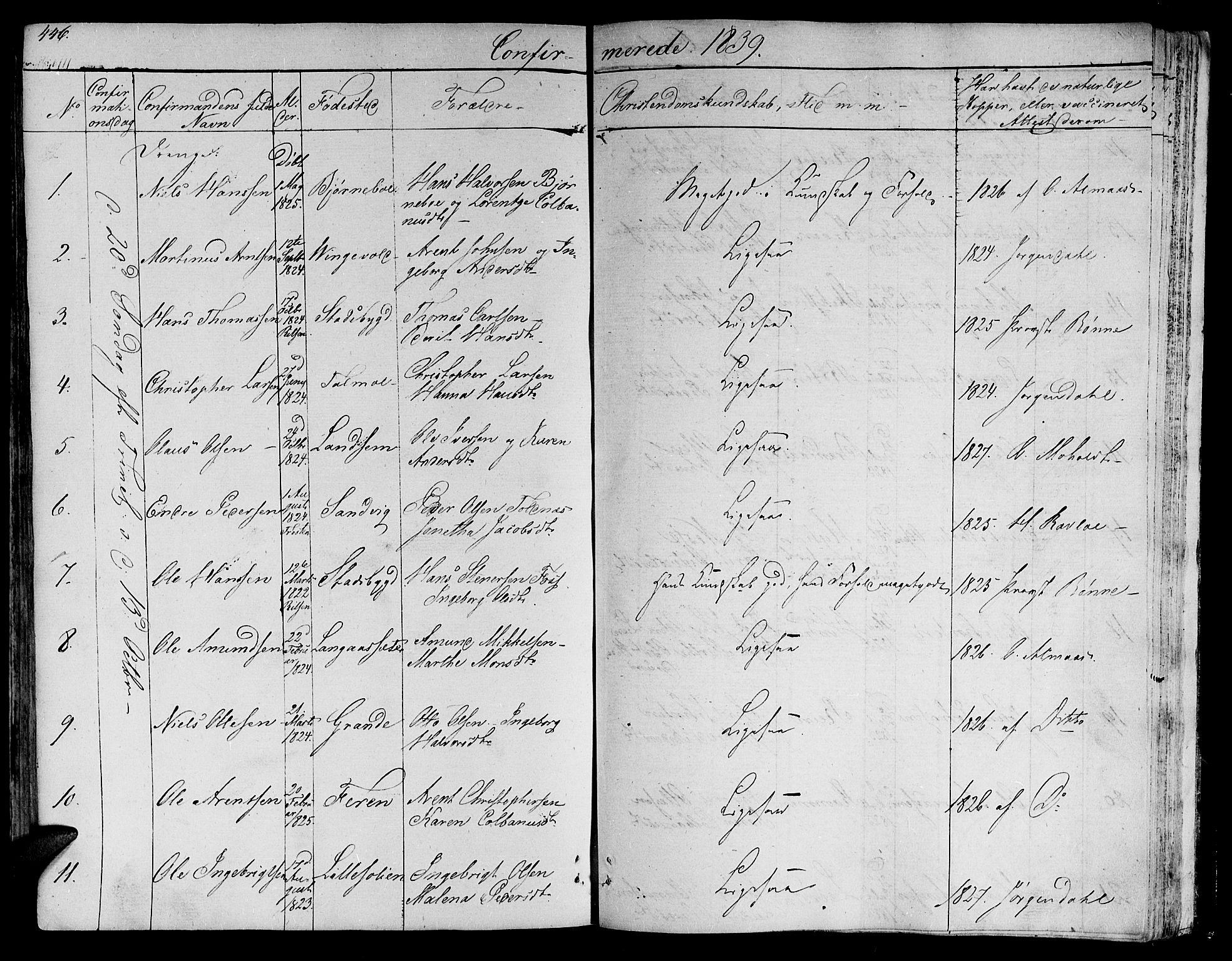 SAT, Ministerialprotokoller, klokkerbøker og fødselsregistre - Nord-Trøndelag, 701/L0006: Ministerialbok nr. 701A06, 1825-1841, s. 446