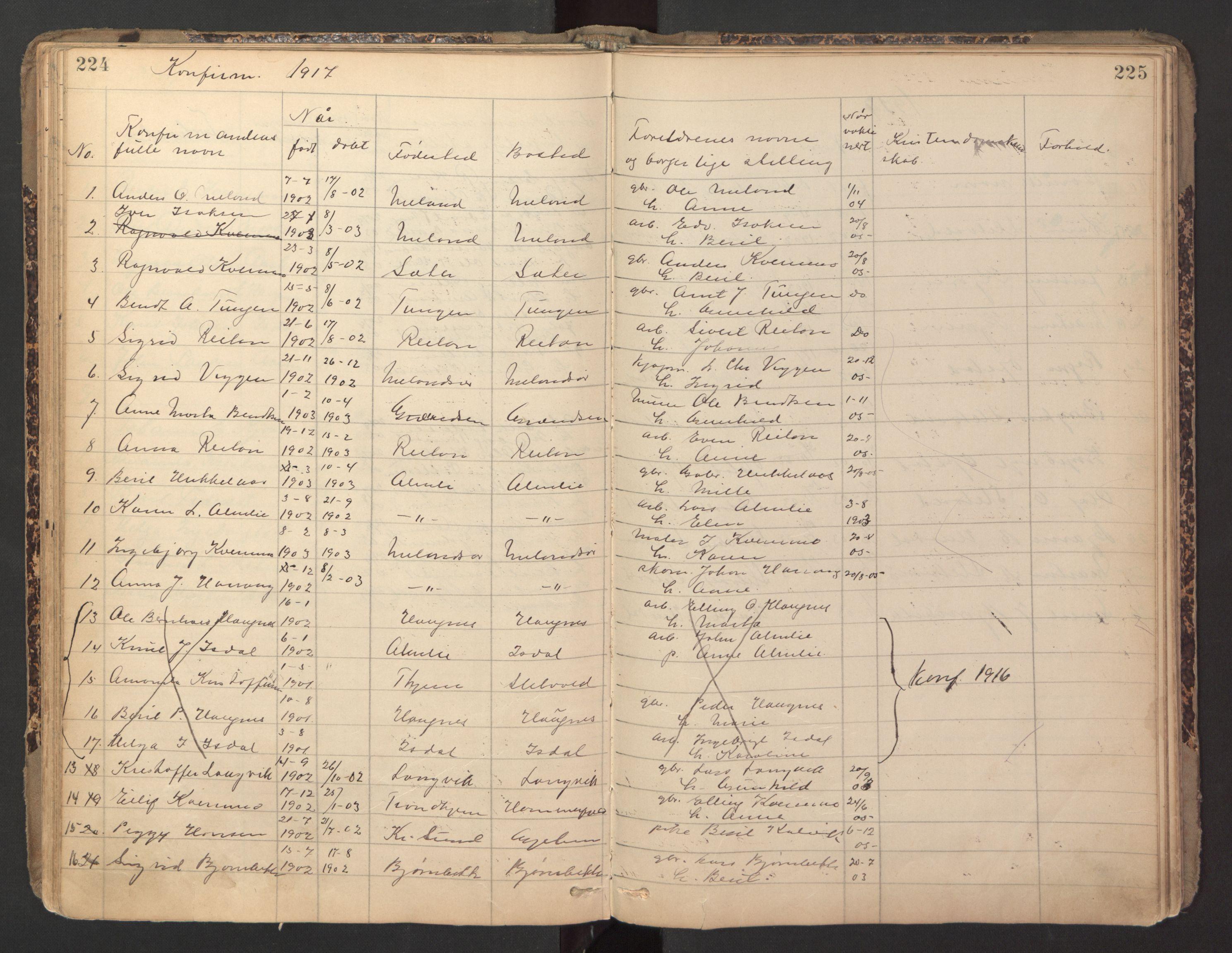 SAT, Ministerialprotokoller, klokkerbøker og fødselsregistre - Sør-Trøndelag, 670/L0837: Klokkerbok nr. 670C01, 1905-1946, s. 224-225