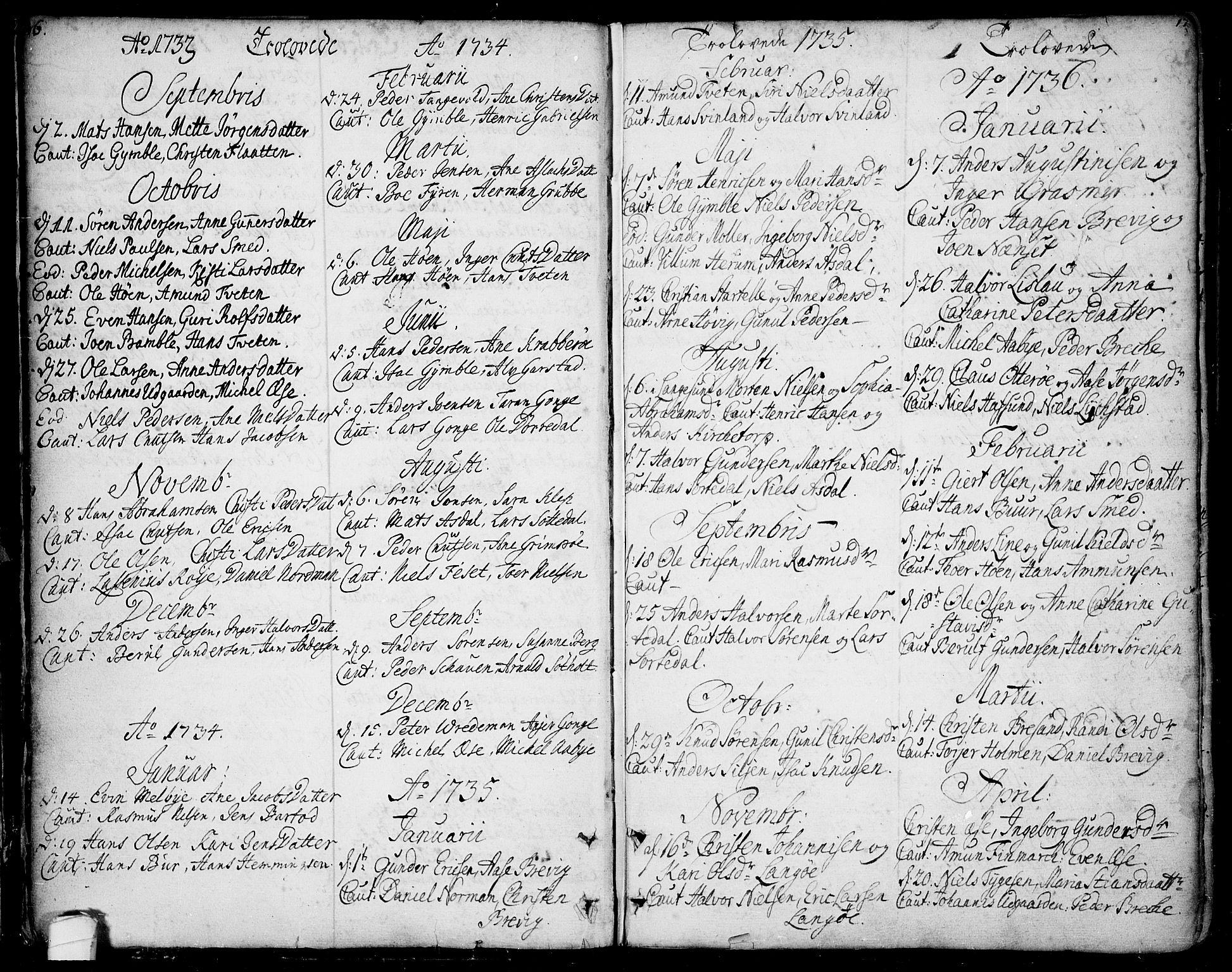 SAKO, Bamble kirkebøker, F/Fa/L0001: Ministerialbok nr. I 1, 1702-1774, s. 16-17