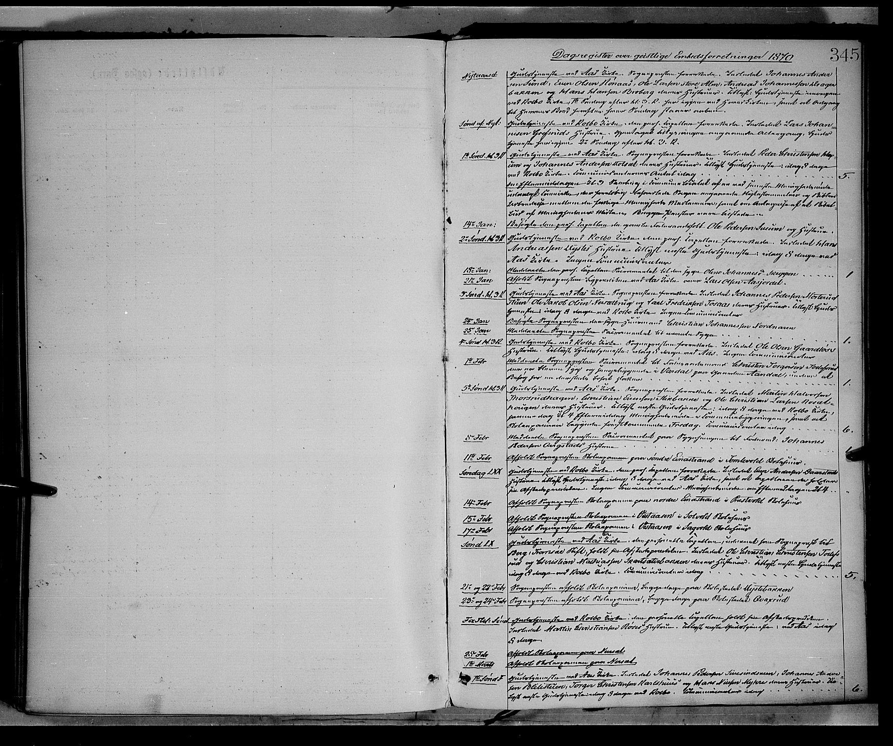 SAH, Vestre Toten prestekontor, H/Ha/Haa/L0008: Ministerialbok nr. 8, 1870-1877, s. 345