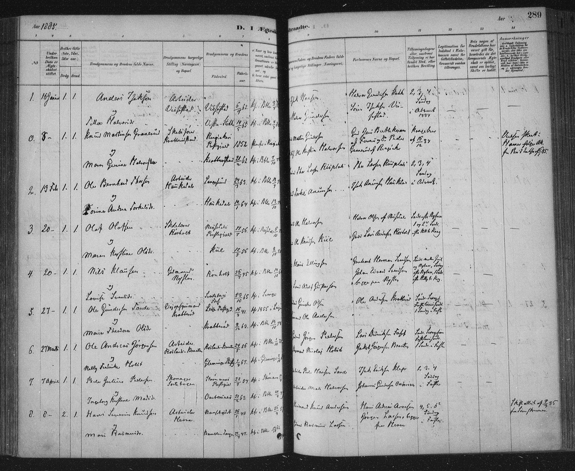 SAKO, Bamble kirkebøker, F/Fa/L0007: Ministerialbok nr. I 7, 1878-1888, s. 289
