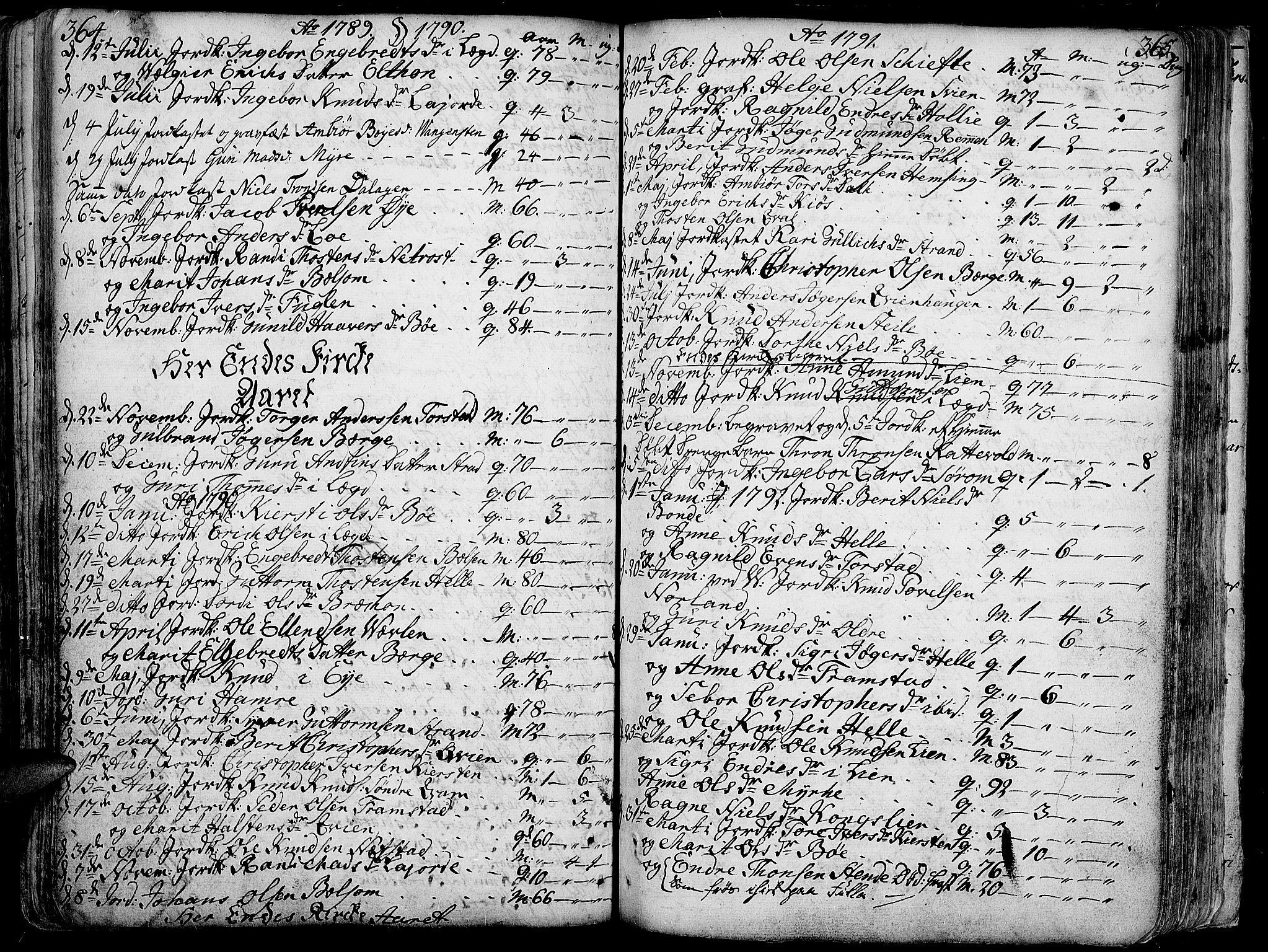 SAH, Vang prestekontor, Valdres, Ministerialbok nr. 1, 1730-1796, s. 364-365