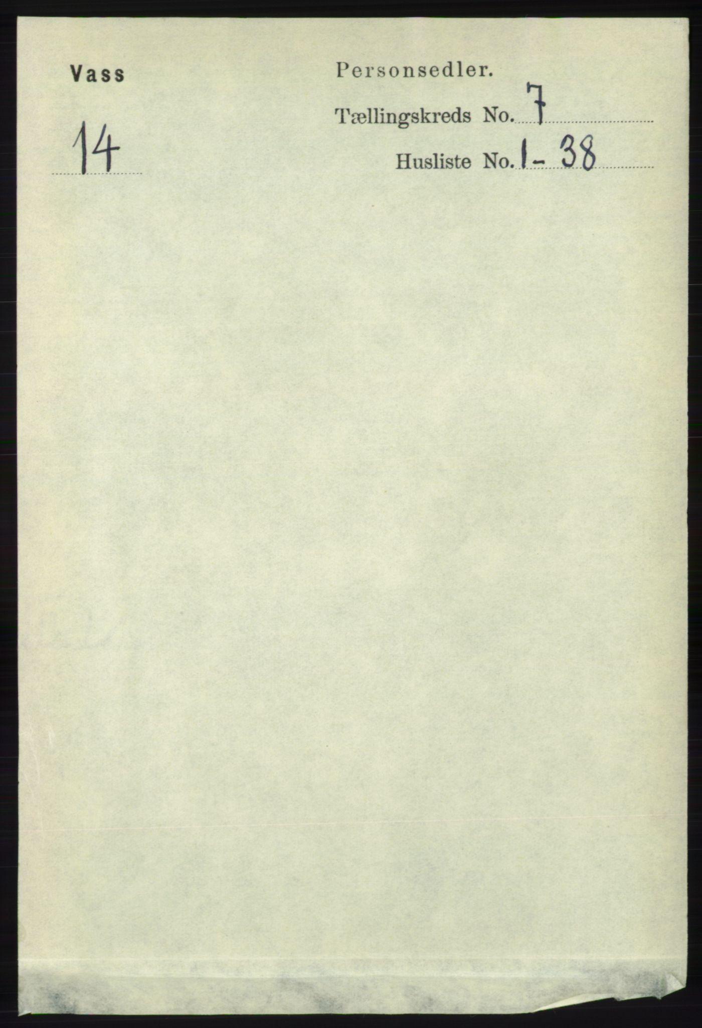 RA, Folketelling 1891 for 1155 Vats herred, 1891, s. 1099