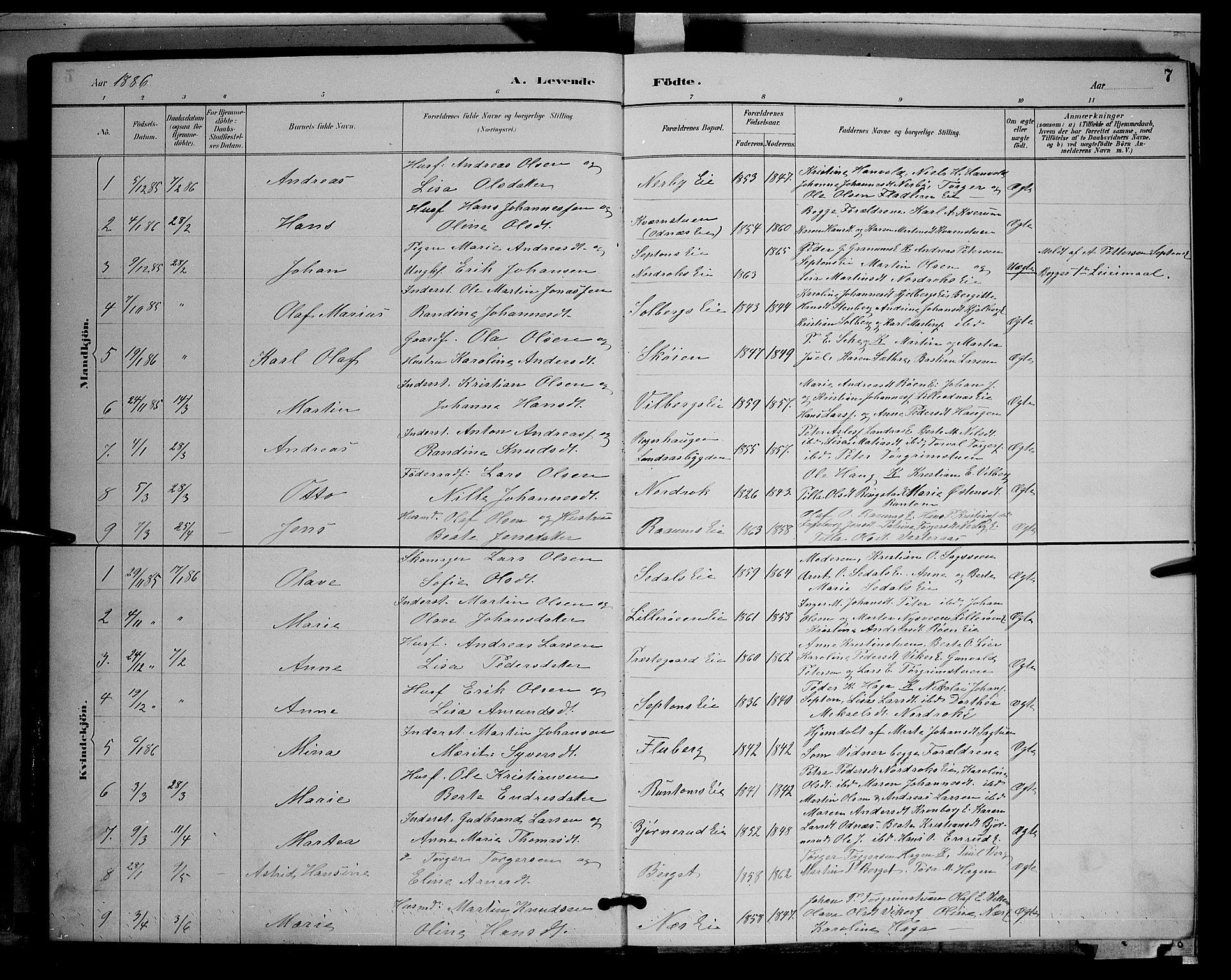 SAH, Søndre Land prestekontor, L/L0003: Klokkerbok nr. 3, 1884-1902, s. 7