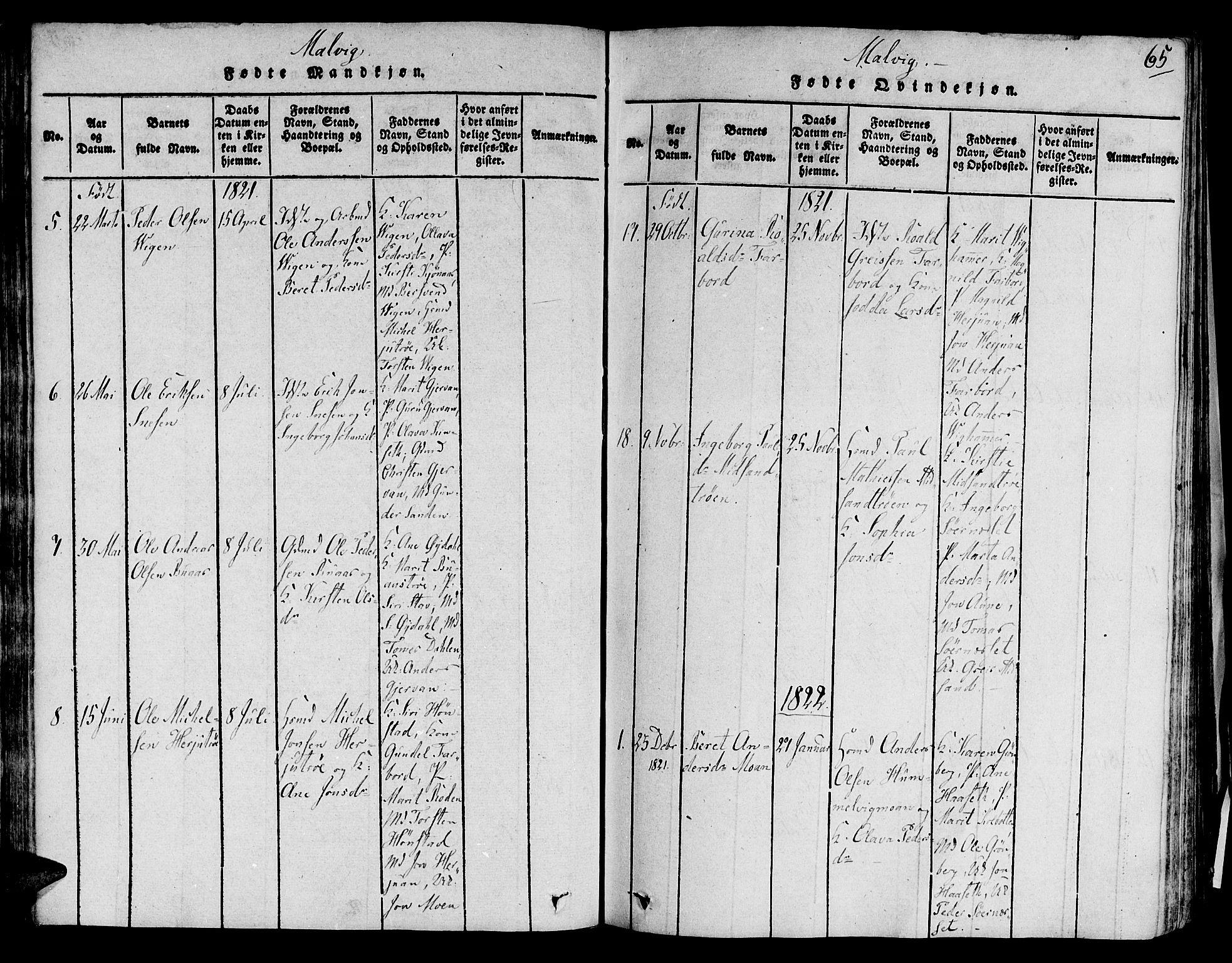 SAT, Ministerialprotokoller, klokkerbøker og fødselsregistre - Sør-Trøndelag, 606/L0284: Ministerialbok nr. 606A03 /2, 1819-1823, s. 65