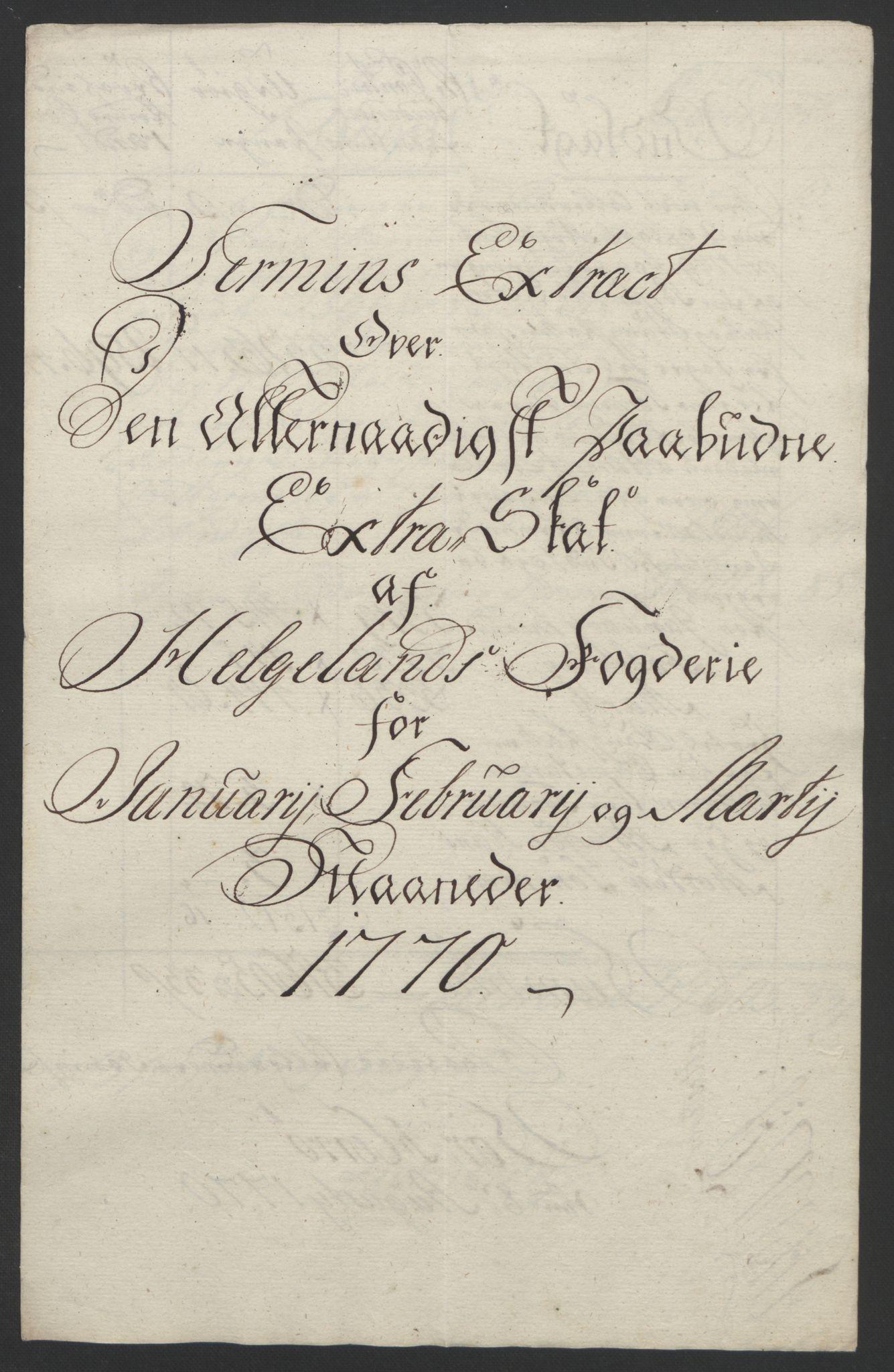 RA, Rentekammeret inntil 1814, Reviderte regnskaper, Fogderegnskap, R65/L4573: Ekstraskatten Helgeland, 1762-1772, s. 265