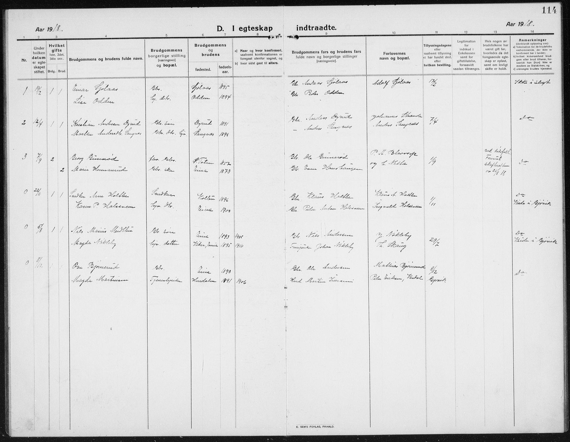 SAH, Kolbu prestekontor, Klokkerbok nr. 6, 1916-1934, s. 114