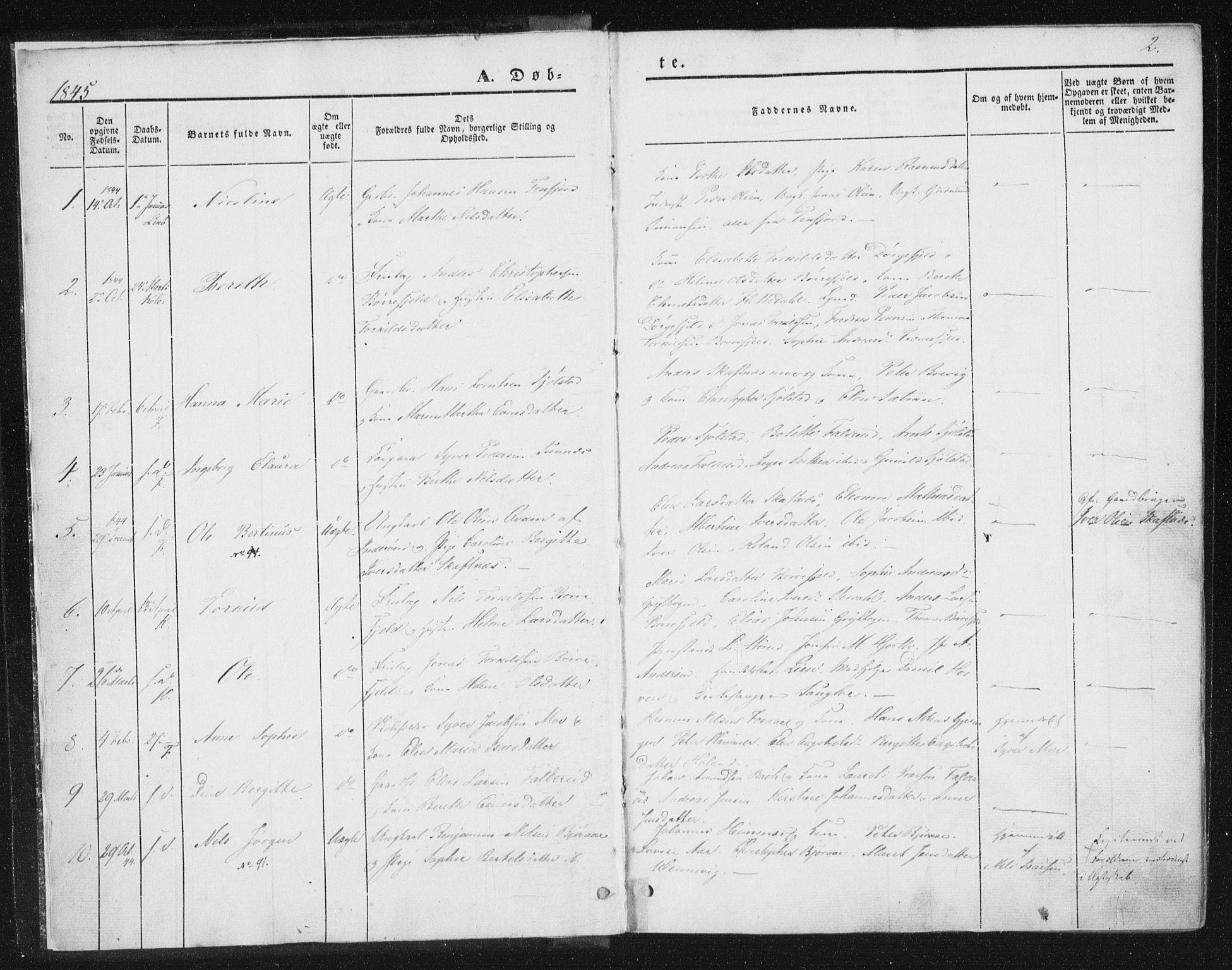 SAT, Ministerialprotokoller, klokkerbøker og fødselsregistre - Nord-Trøndelag, 780/L0640: Ministerialbok nr. 780A05, 1845-1856, s. 2
