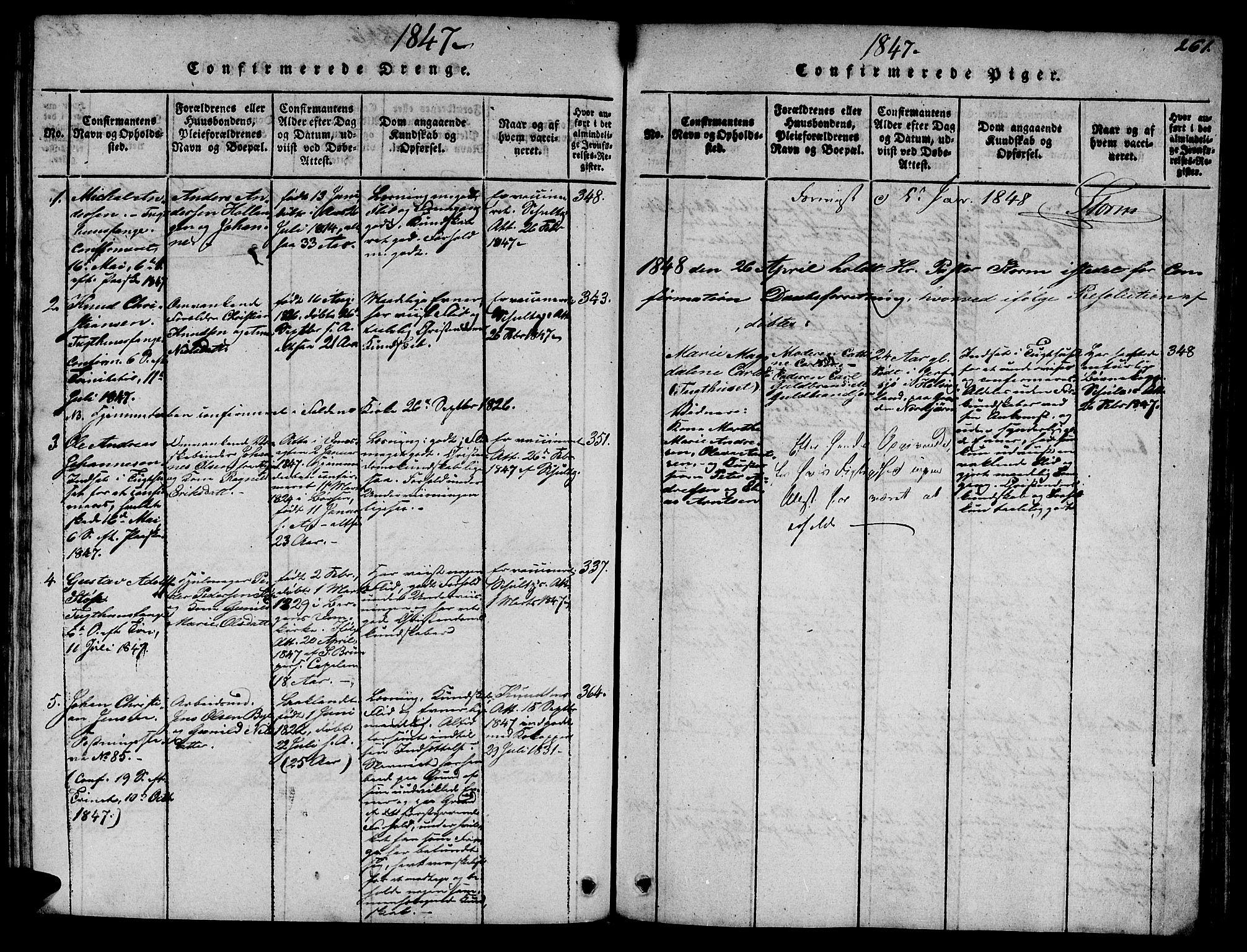 SAT, Ministerialprotokoller, klokkerbøker og fødselsregistre - Sør-Trøndelag, 623/L0478: Klokkerbok nr. 623C01, 1815-1873, s. 261