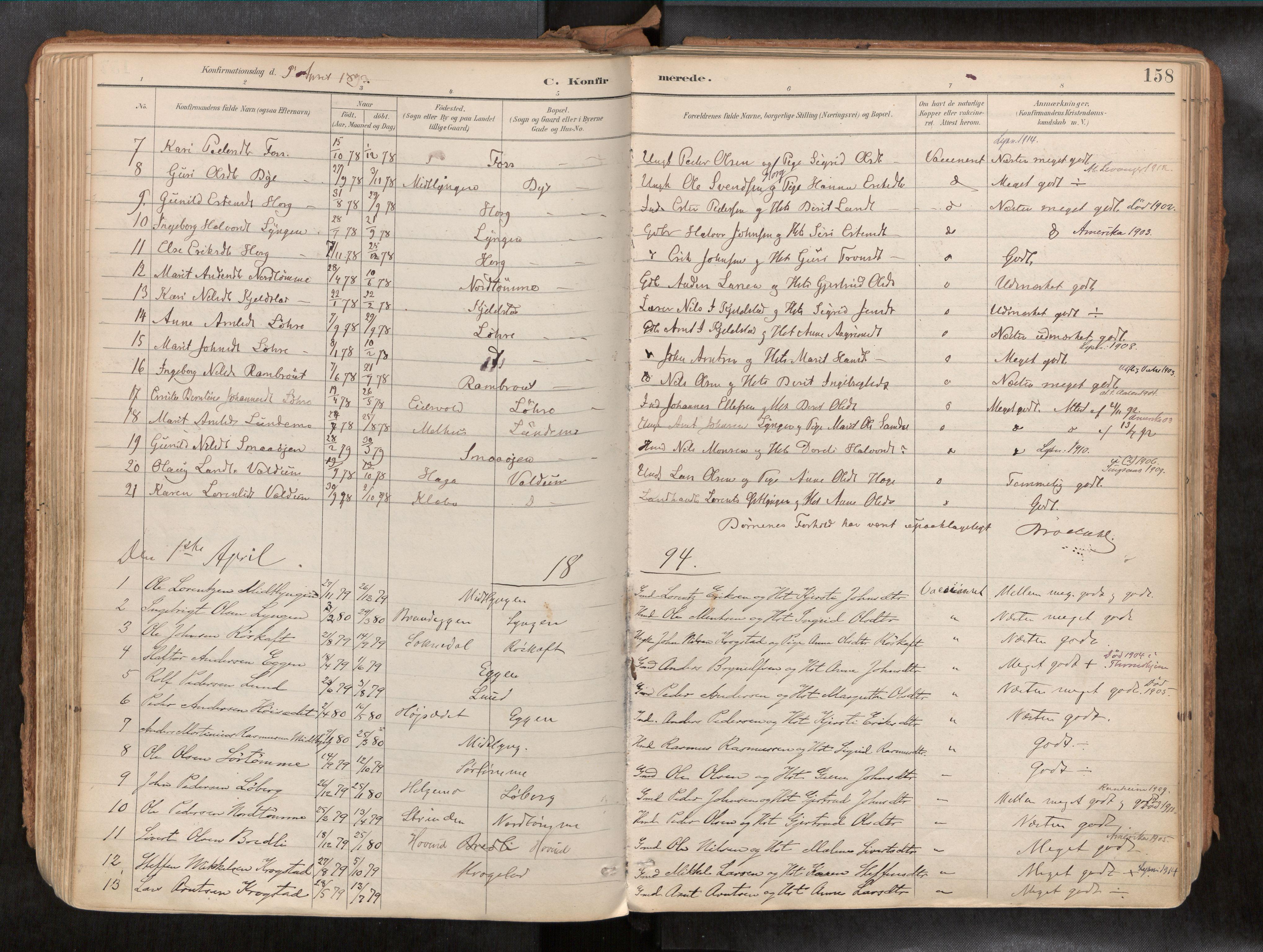 SAT, Ministerialprotokoller, klokkerbøker og fødselsregistre - Sør-Trøndelag, 692/L1105b: Ministerialbok nr. 692A06, 1891-1934, s. 158