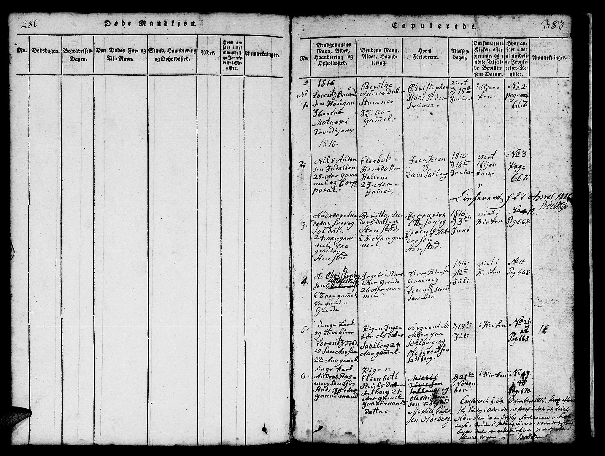 SAT, Ministerialprotokoller, klokkerbøker og fødselsregistre - Nord-Trøndelag, 731/L0310: Klokkerbok nr. 731C01, 1816-1874, s. 286-383