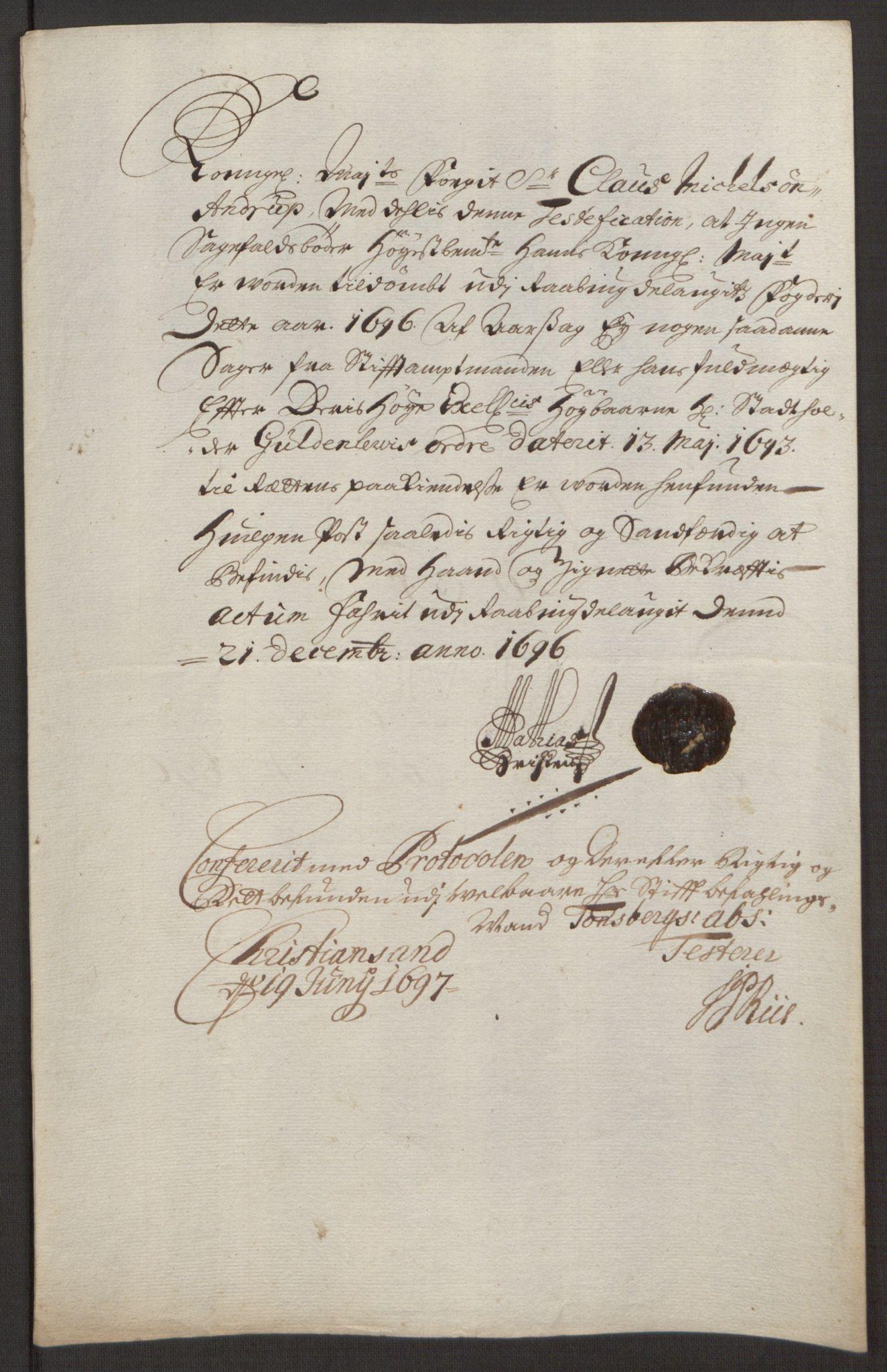 RA, Rentekammeret inntil 1814, Reviderte regnskaper, Fogderegnskap, R40/L2444: Fogderegnskap Råbyggelag, 1693-1696, s. 332