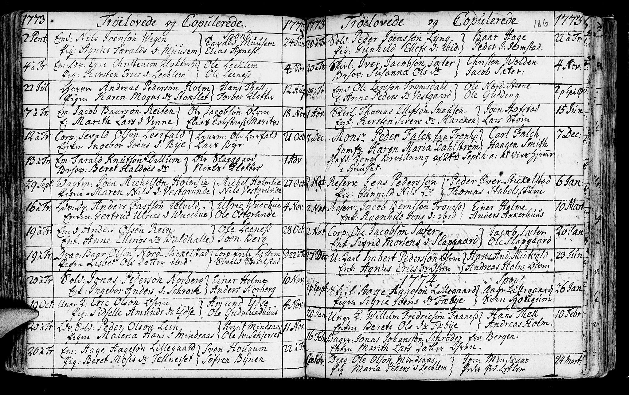 SAT, Ministerialprotokoller, klokkerbøker og fødselsregistre - Nord-Trøndelag, 723/L0231: Ministerialbok nr. 723A02, 1748-1780, s. 186