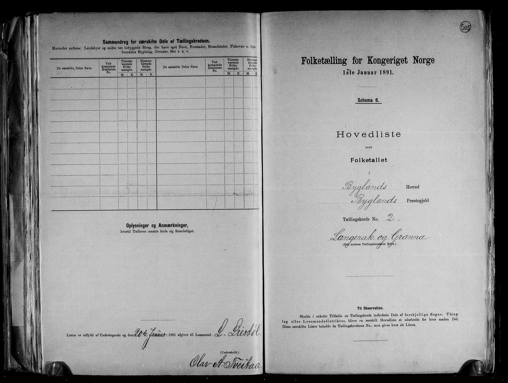 RA, Folketelling 1891 for 0938 Bygland herred, 1891, s. 8