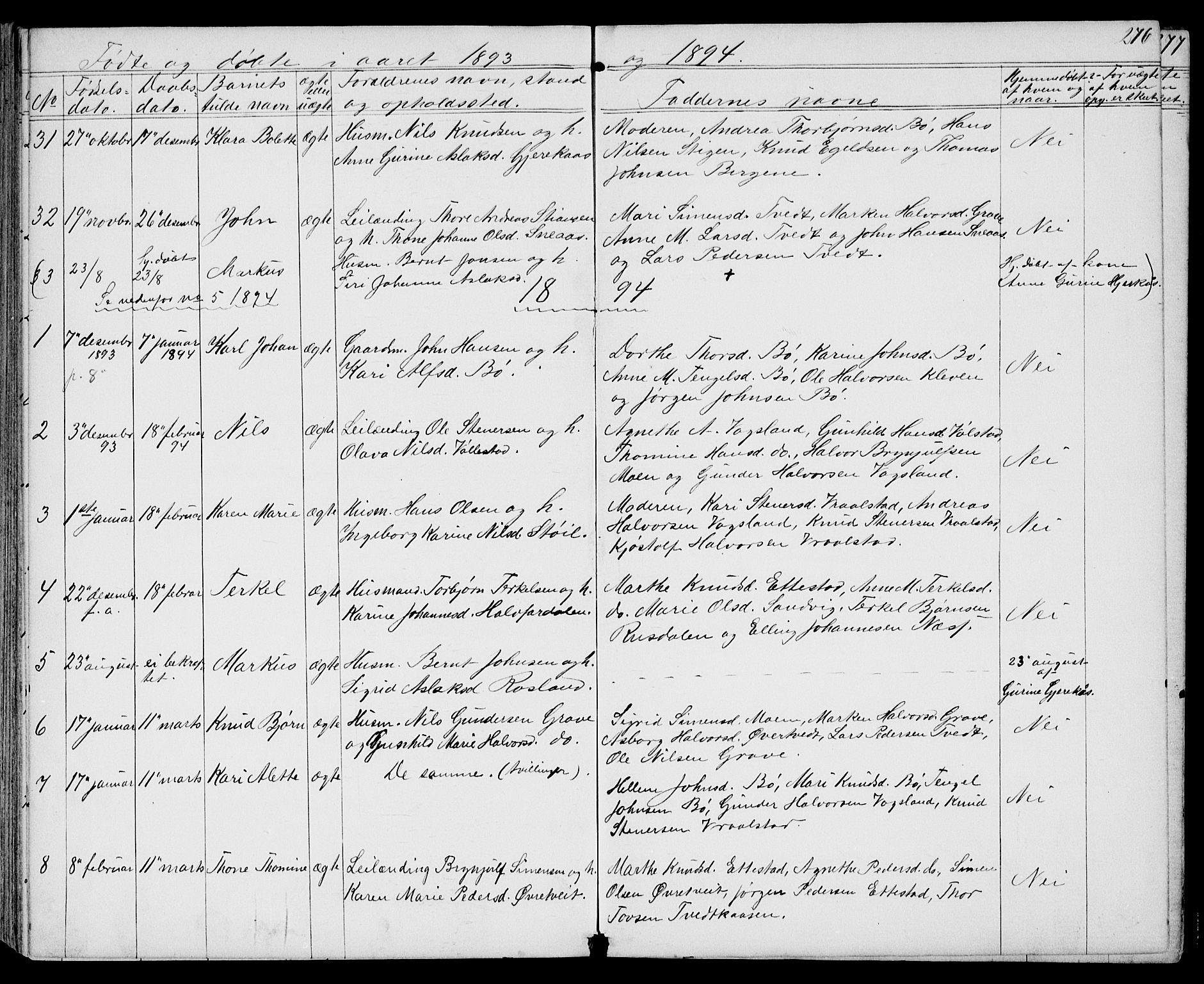 SAKO, Drangedal kirkebøker, G/Gb/L0001: Klokkerbok nr. II 1, 1856-1894, s. 276