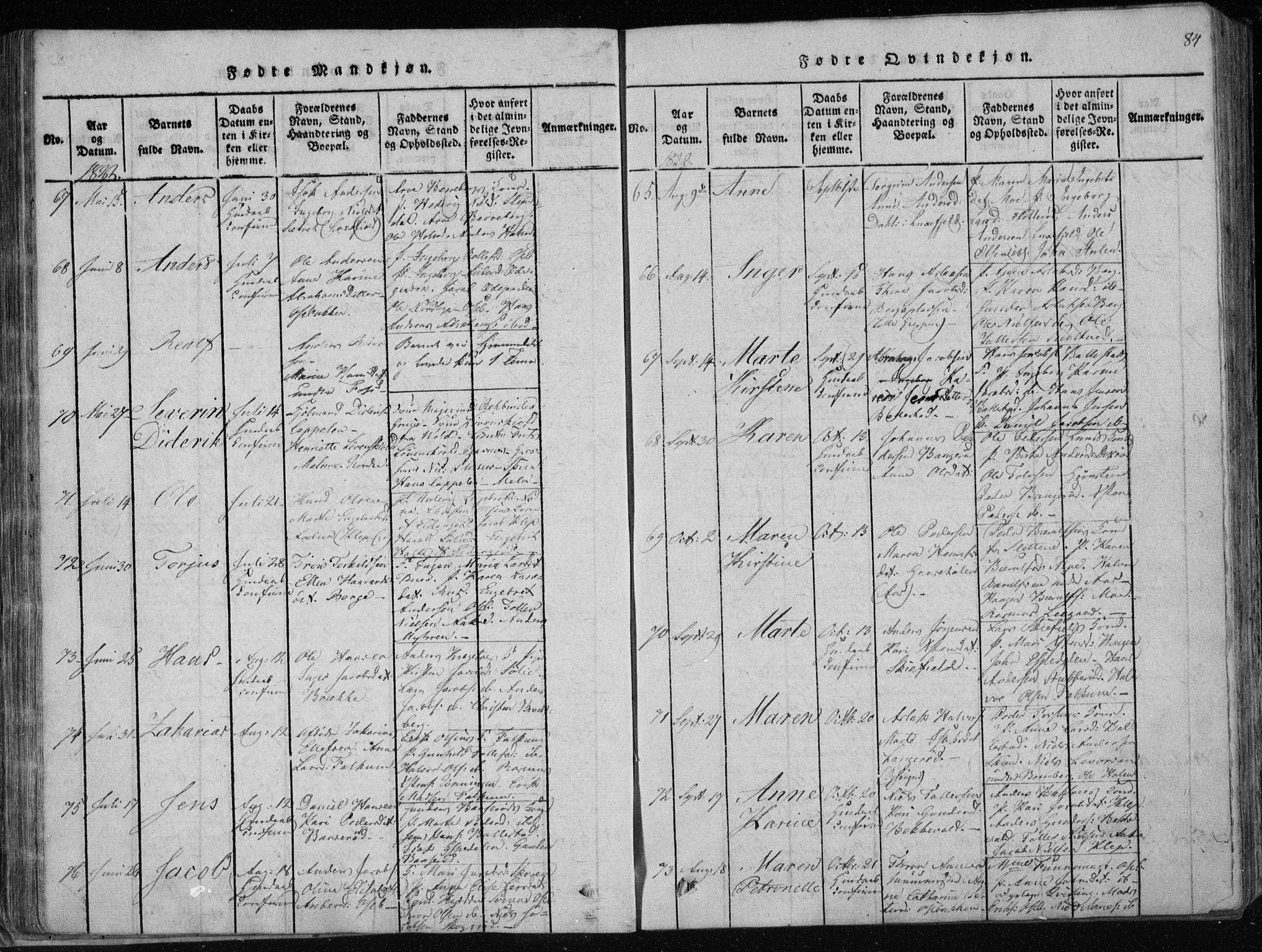 SAKO, Gjerpen kirkebøker, F/Fa/L0004: Ministerialbok nr. 4, 1814-1823, s. 84