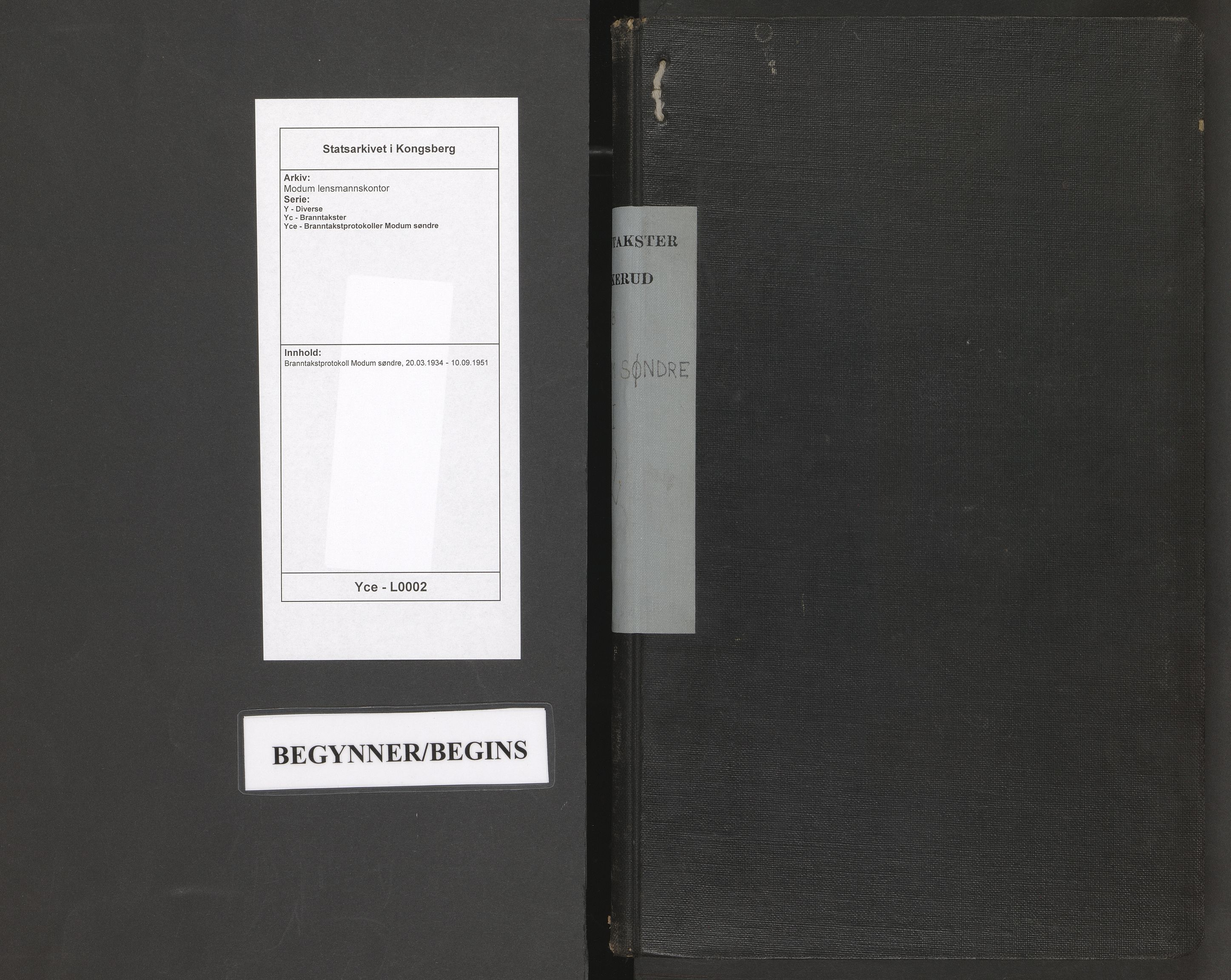 SAKO, Modum lensmannskontor, Y/Yc/Yce/L0002: Branntakstprotokoll Modum søndre, 1934-1951