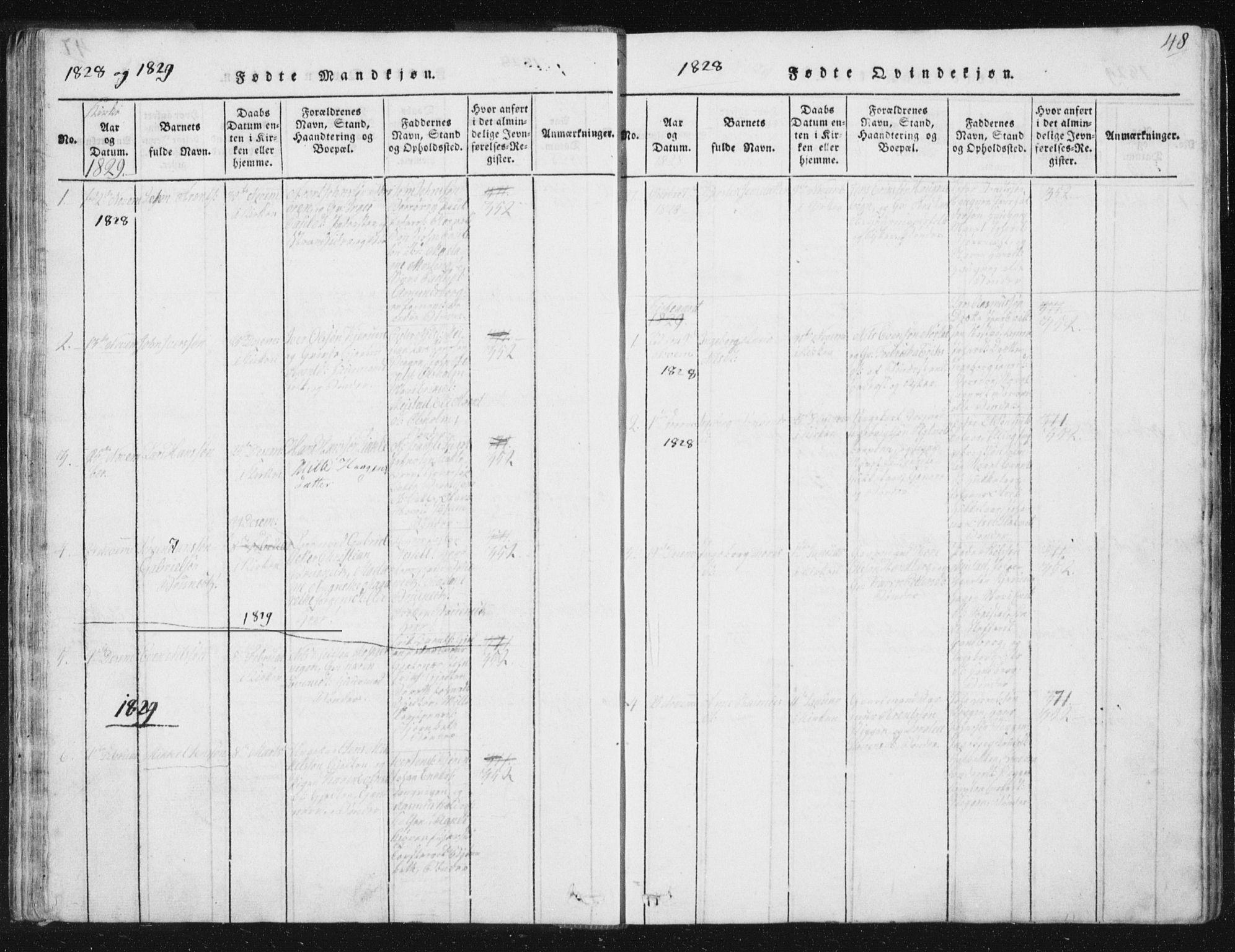 SAT, Ministerialprotokoller, klokkerbøker og fødselsregistre - Sør-Trøndelag, 665/L0770: Ministerialbok nr. 665A05, 1817-1829, s. 48