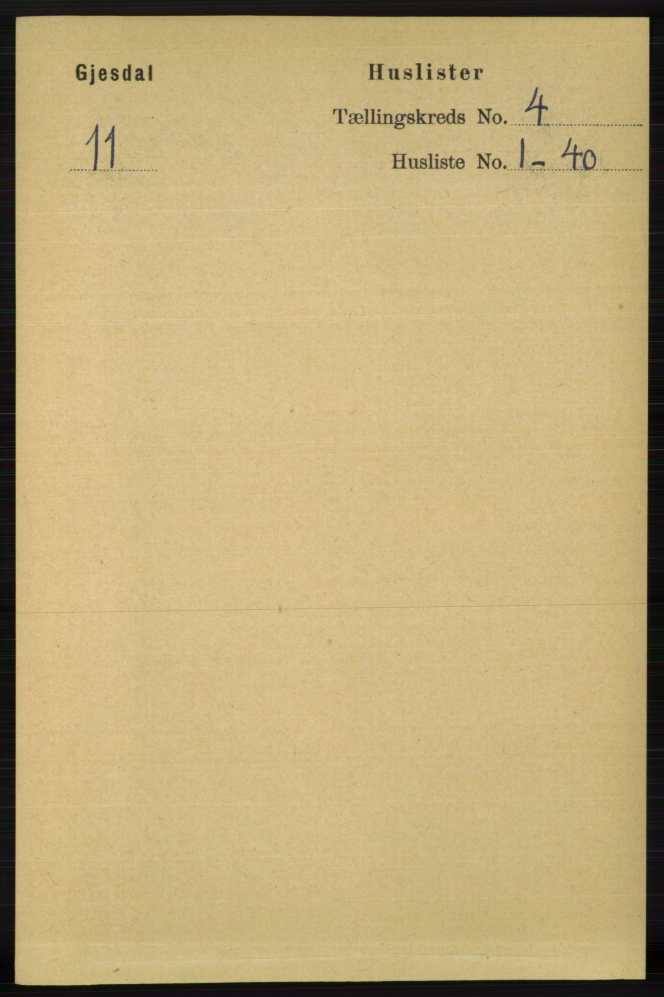 RA, Folketelling 1891 for 1122 Gjesdal herred, 1891, s. 1139
