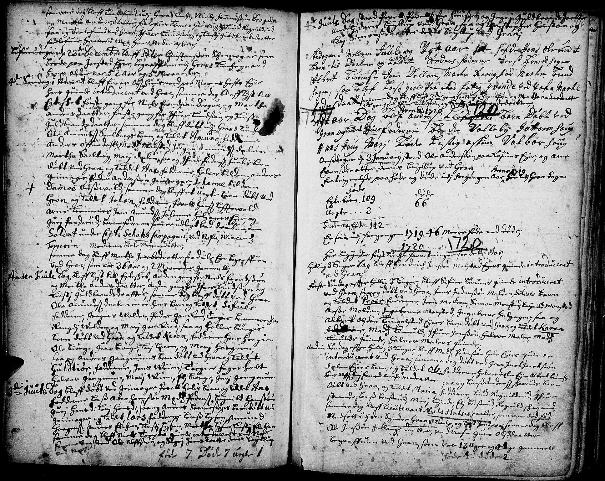 SAH, Gran prestekontor, Ministerialbok nr. 1, 1707-1731, s. 116