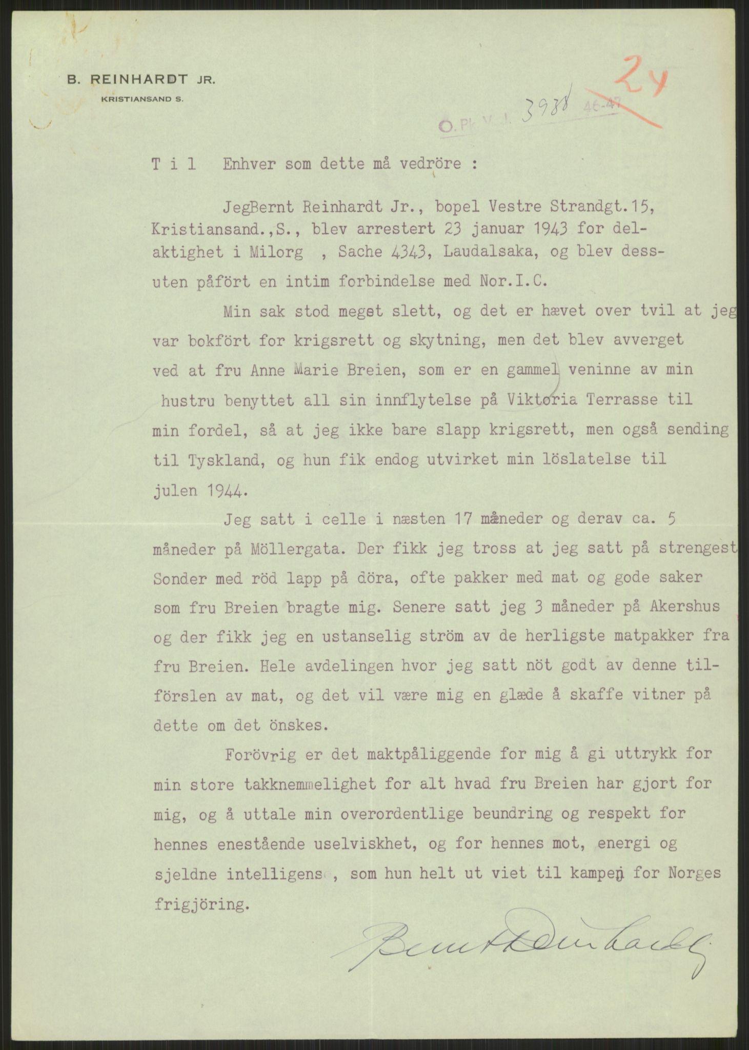 RA, Landssvikarkivet, Oslo politikammer, D/Dg/L0267: Henlagt hnr. 3658, 1945-1946, s. 284