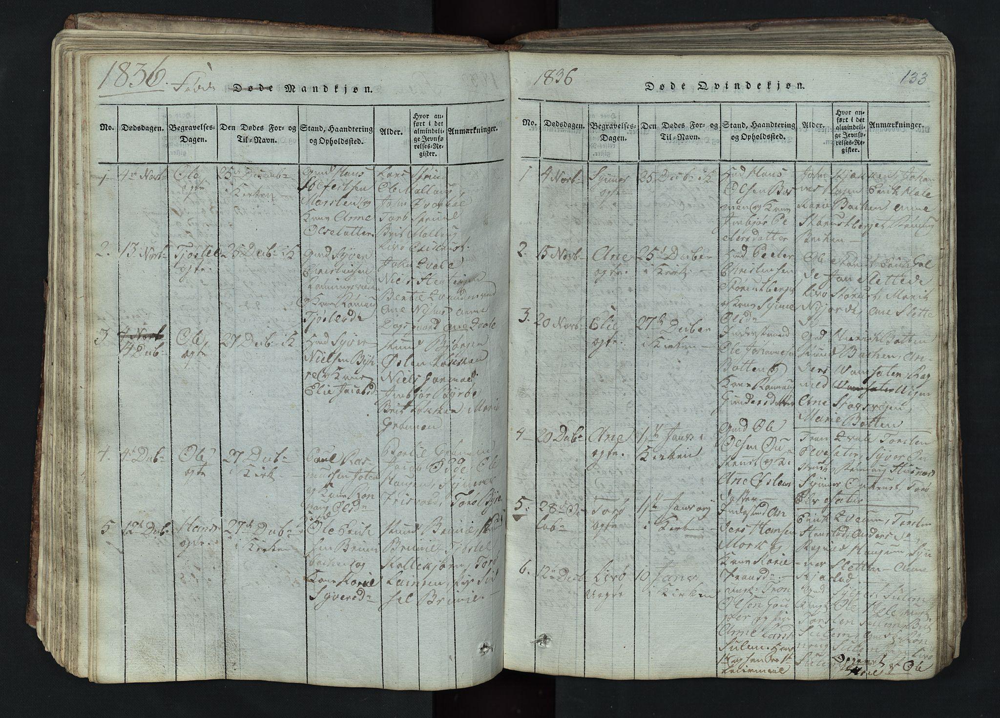 SAH, Lom prestekontor, L/L0002: Klokkerbok nr. 2, 1815-1844, s. 133