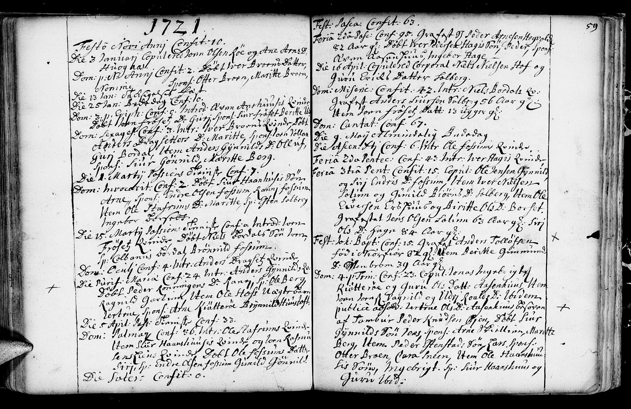 SAT, Ministerialprotokoller, klokkerbøker og fødselsregistre - Sør-Trøndelag, 689/L1036: Ministerialbok nr. 689A01, 1696-1746, s. 59