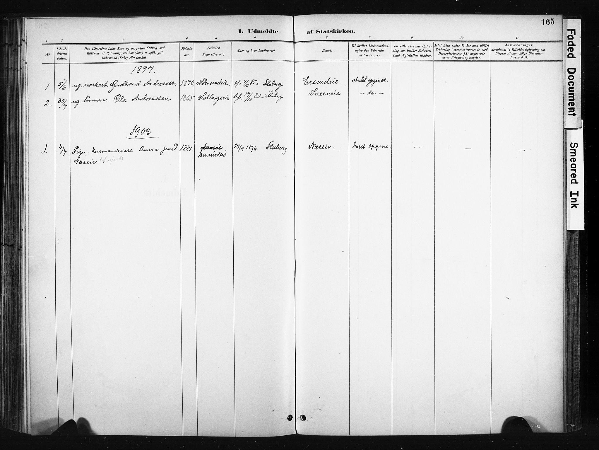 SAH, Søndre Land prestekontor, K/L0004: Ministerialbok nr. 4, 1895-1904, s. 165