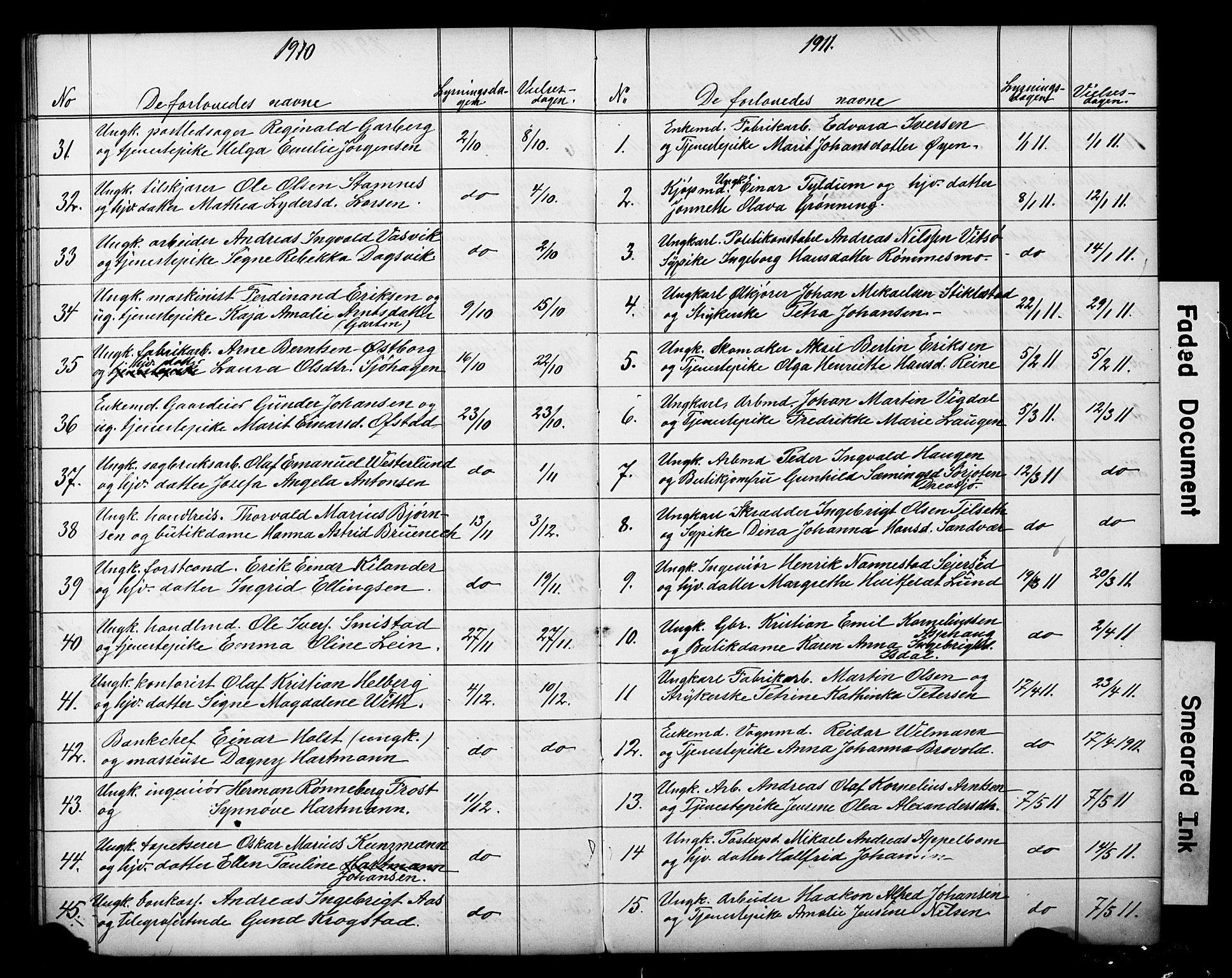 SAT, Ministerialprotokoller, klokkerbøker og fødselsregistre - Sør-Trøndelag, 601/L0059: Lysningsprotokoll nr. 601A27, 1870-1911