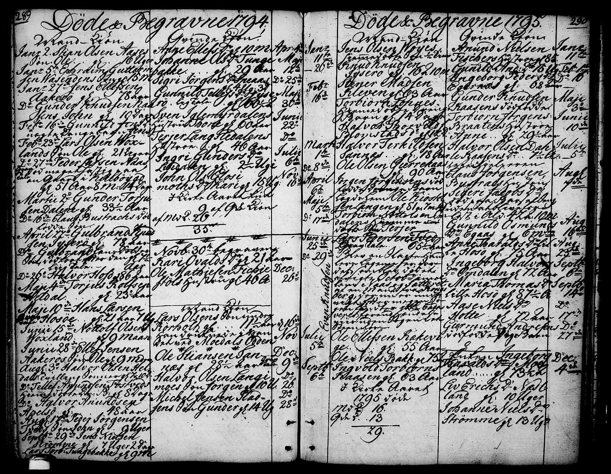 SAKO, Drangedal kirkebøker, F/Fa/L0003: Ministerialbok nr. 3, 1768-1814, s. 289-290