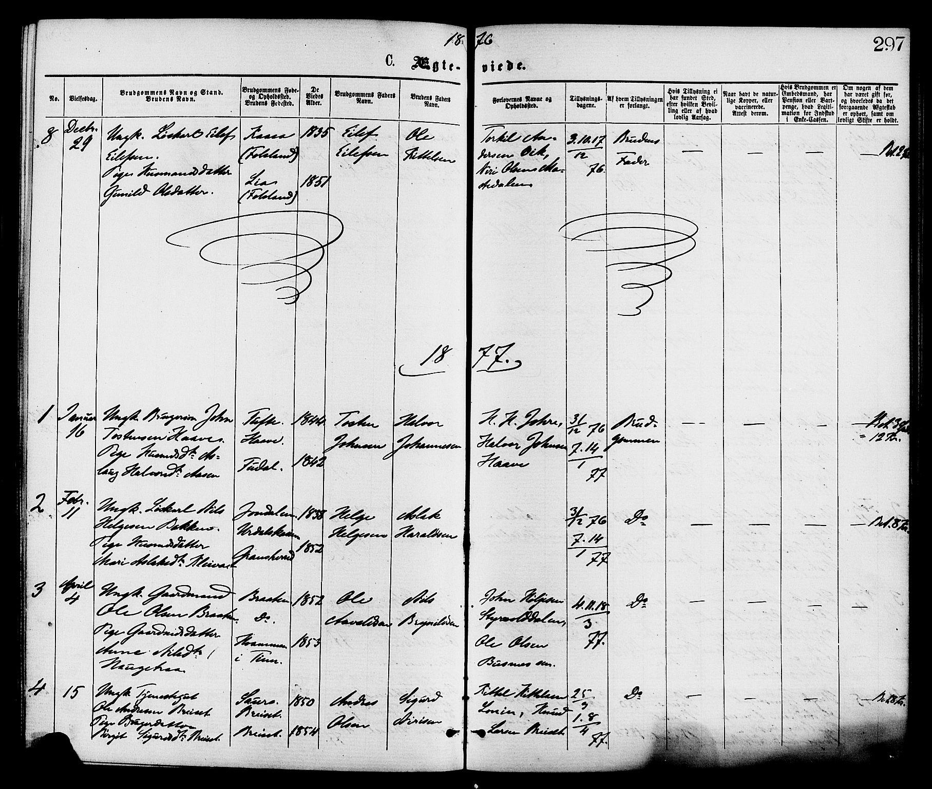 SAKO, Gransherad kirkebøker, F/Fa/L0004: Ministerialbok nr. I 4, 1871-1886, s. 297