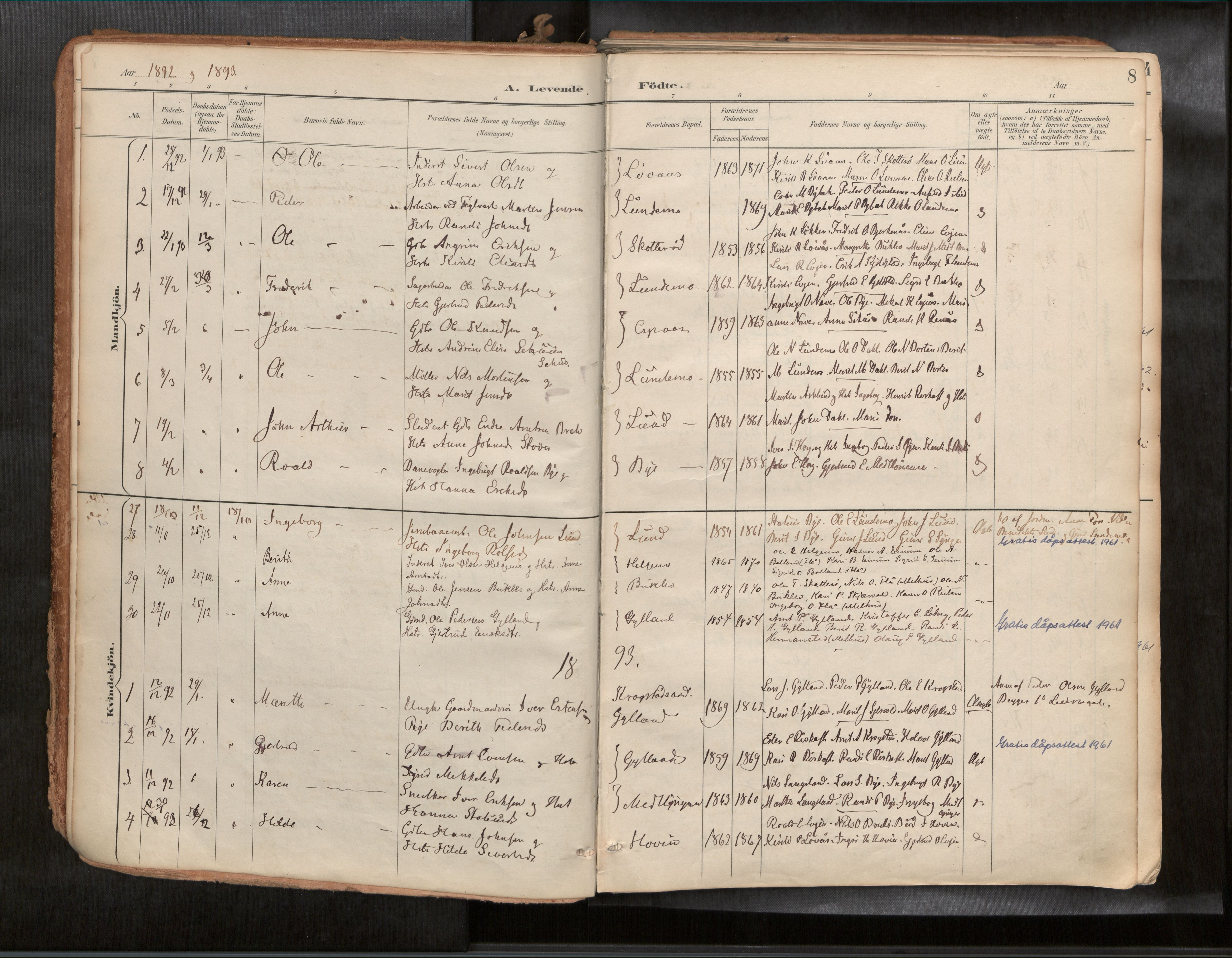 SAT, Ministerialprotokoller, klokkerbøker og fødselsregistre - Sør-Trøndelag, 692/L1105b: Ministerialbok nr. 692A06, 1891-1934, s. 8
