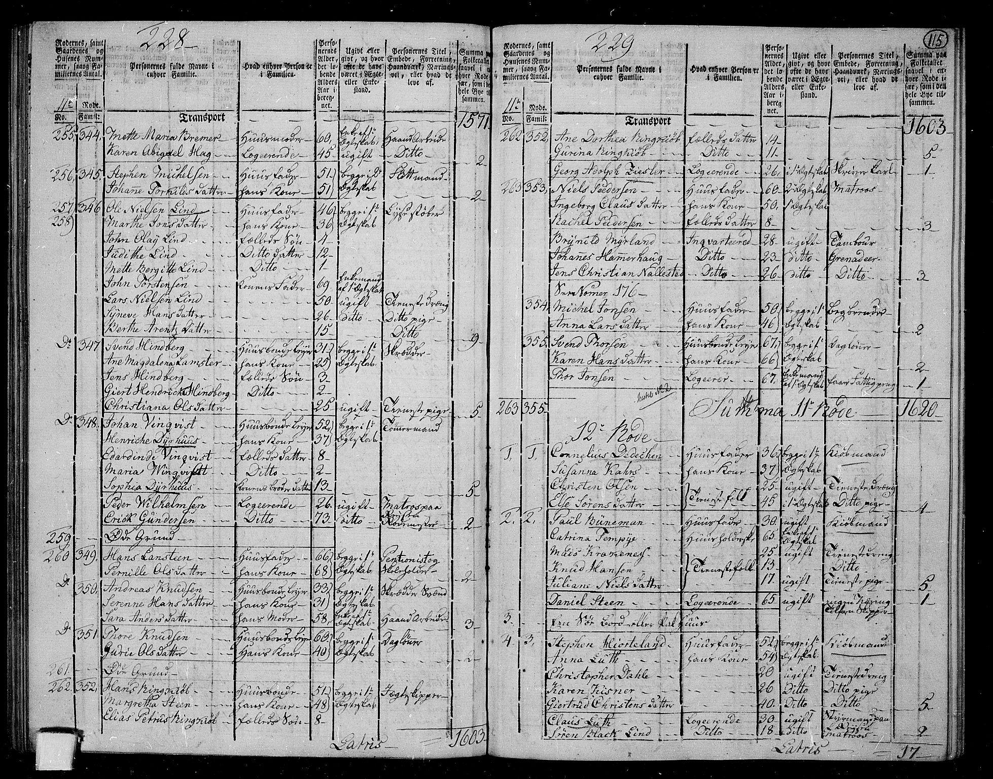 RA, Folketelling 1801 for 1301 Bergen kjøpstad, 1801, s. 114b-115a