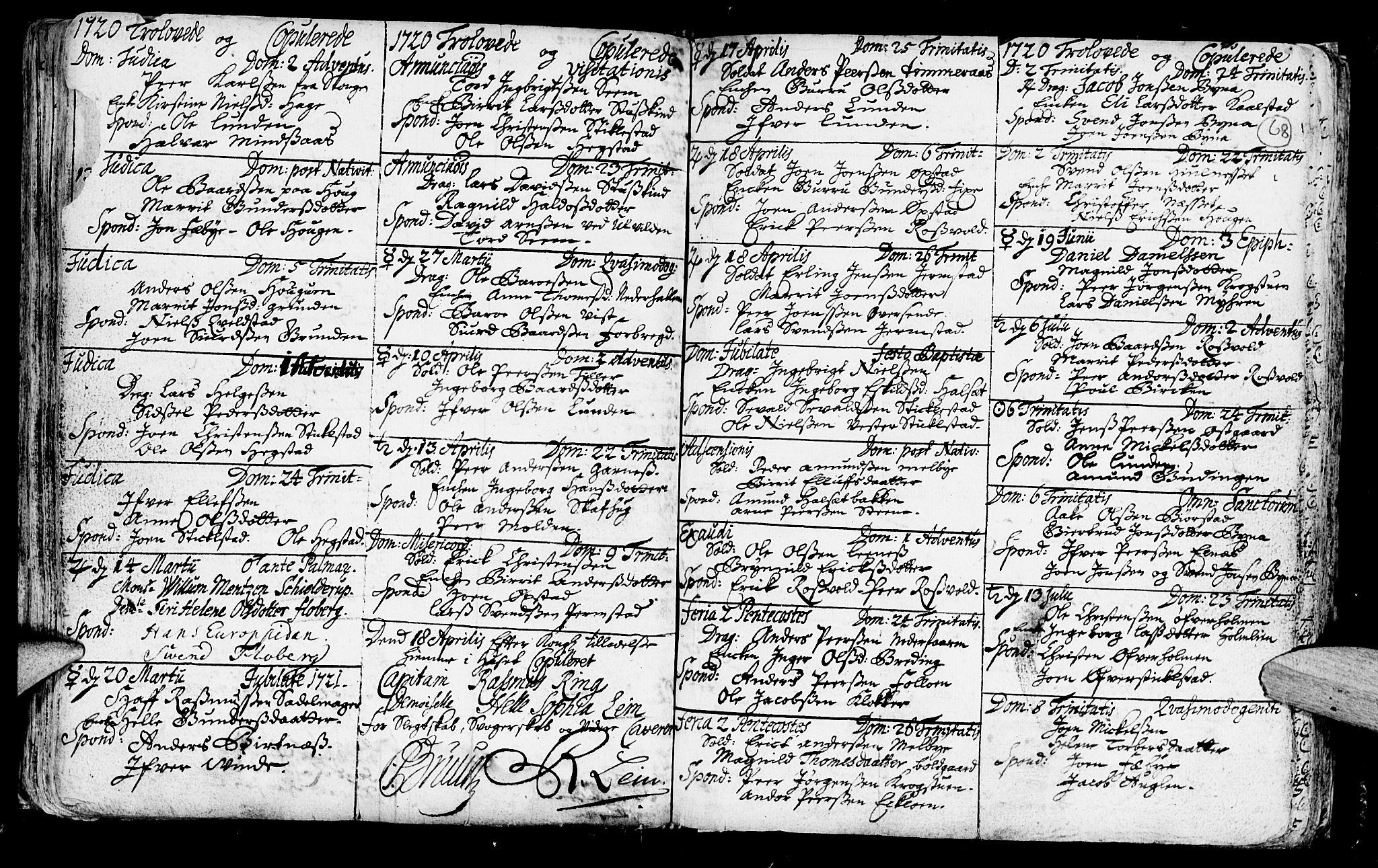 SAT, Ministerialprotokoller, klokkerbøker og fødselsregistre - Nord-Trøndelag, 723/L0230: Ministerialbok nr. 723A01, 1705-1747, s. 68