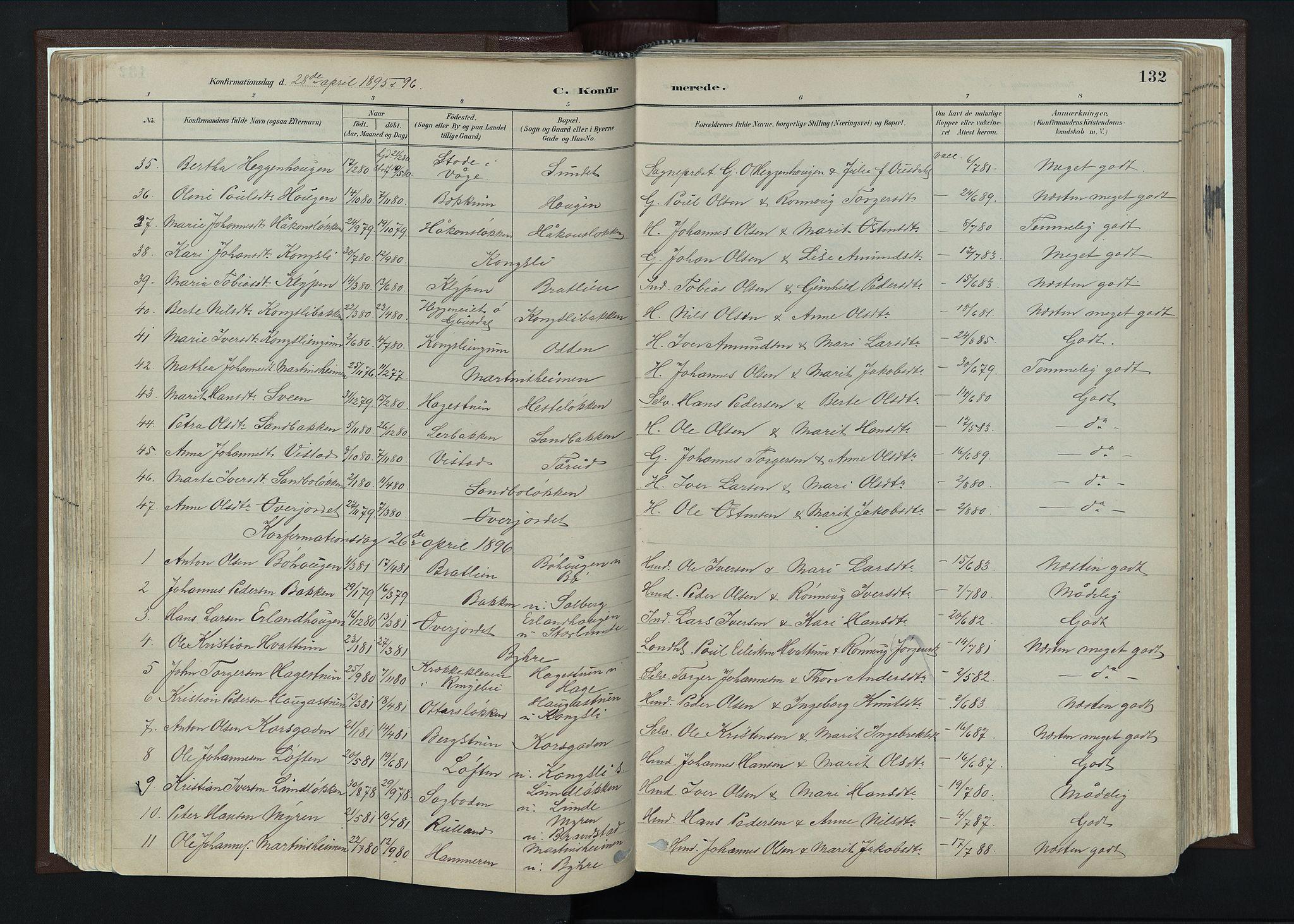 SAH, Nord-Fron prestekontor, Ministerialbok nr. 4, 1884-1914, s. 132