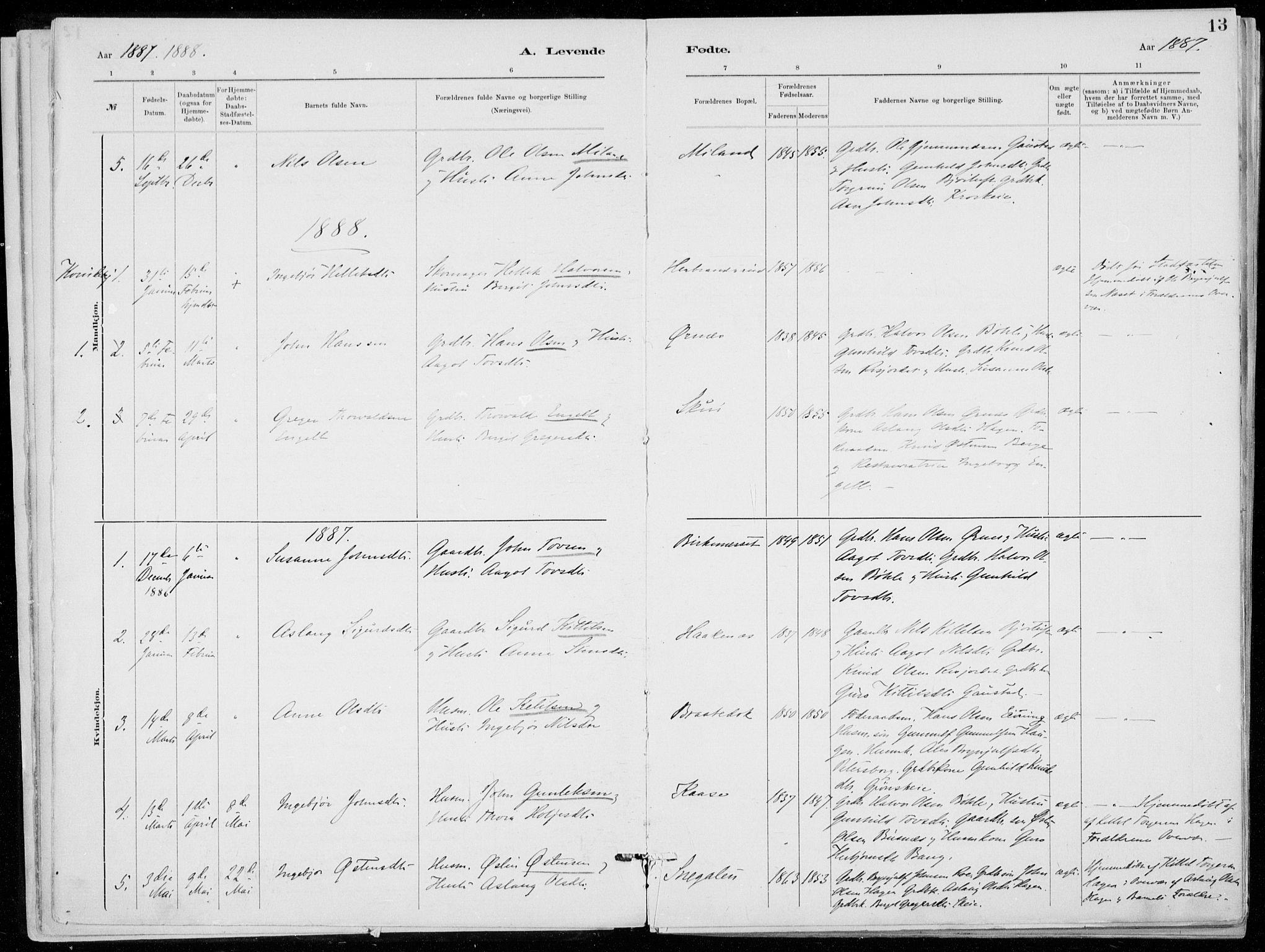 SAKO, Tinn kirkebøker, F/Fb/L0002: Ministerialbok nr. II 2, 1878-1917, s. 13