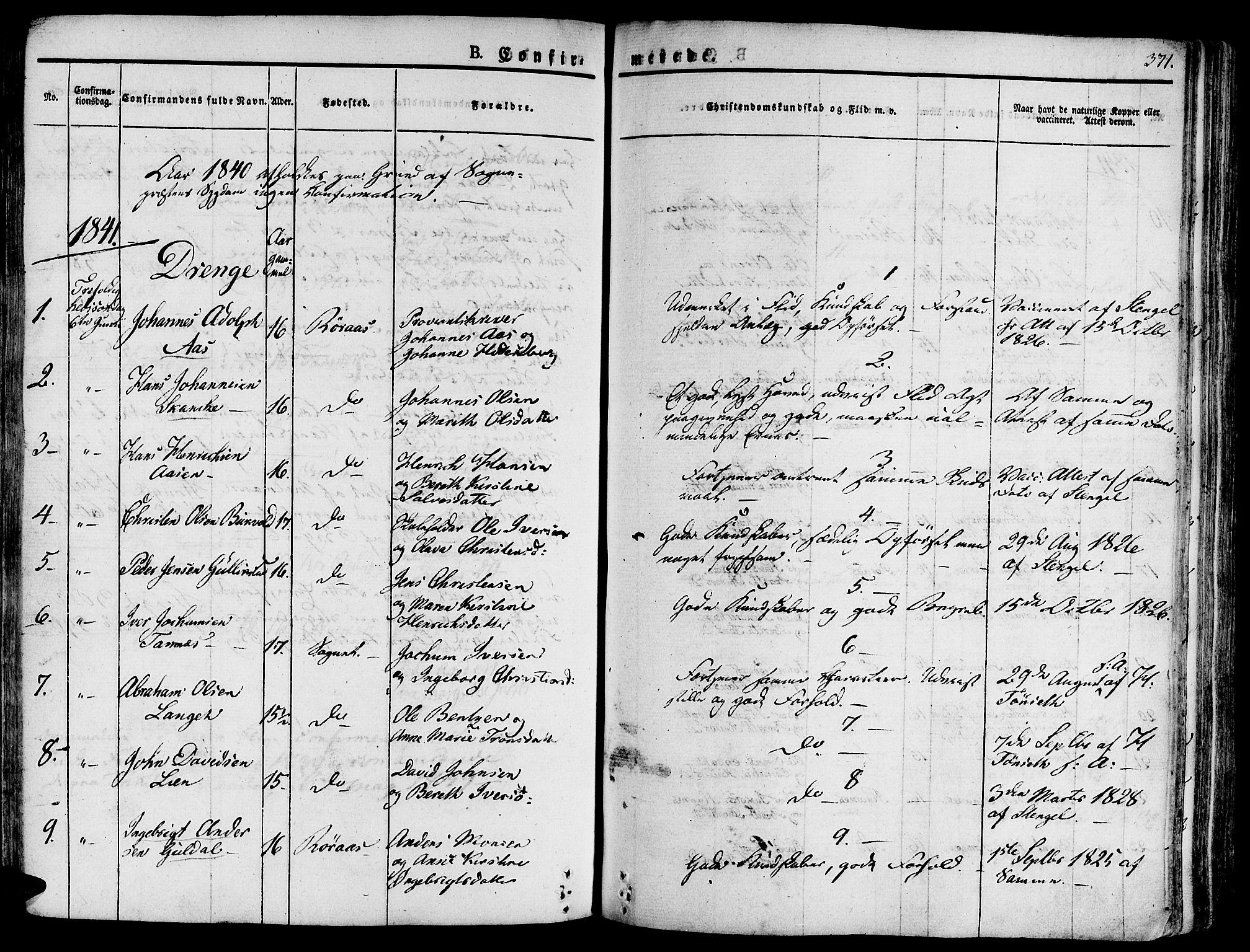 SAT, Ministerialprotokoller, klokkerbøker og fødselsregistre - Sør-Trøndelag, 681/L0930: Ministerialbok nr. 681A08, 1829-1844, s. 371