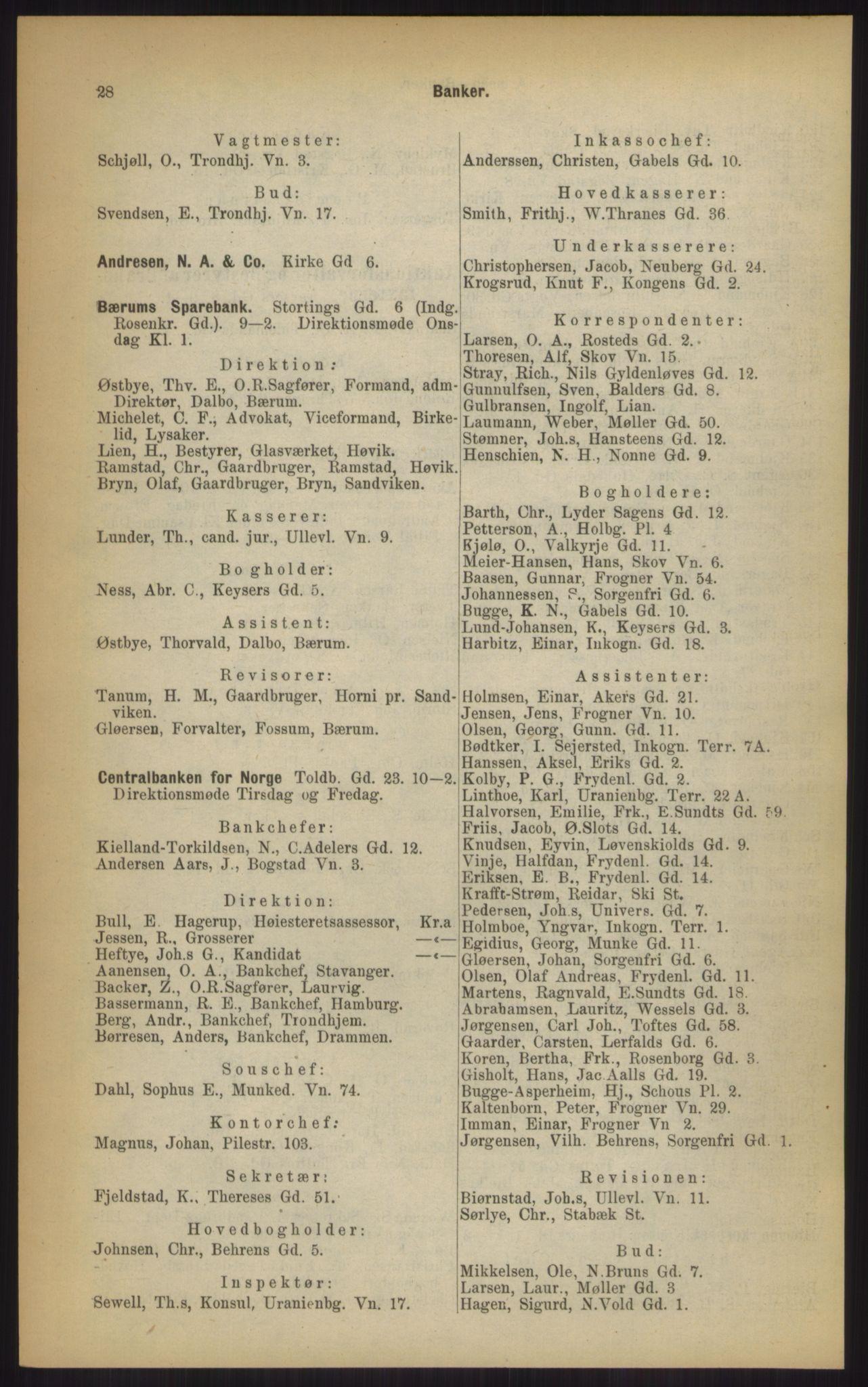 RA, Kristiania adressebok (publikasjon)*, 1903, s. 28