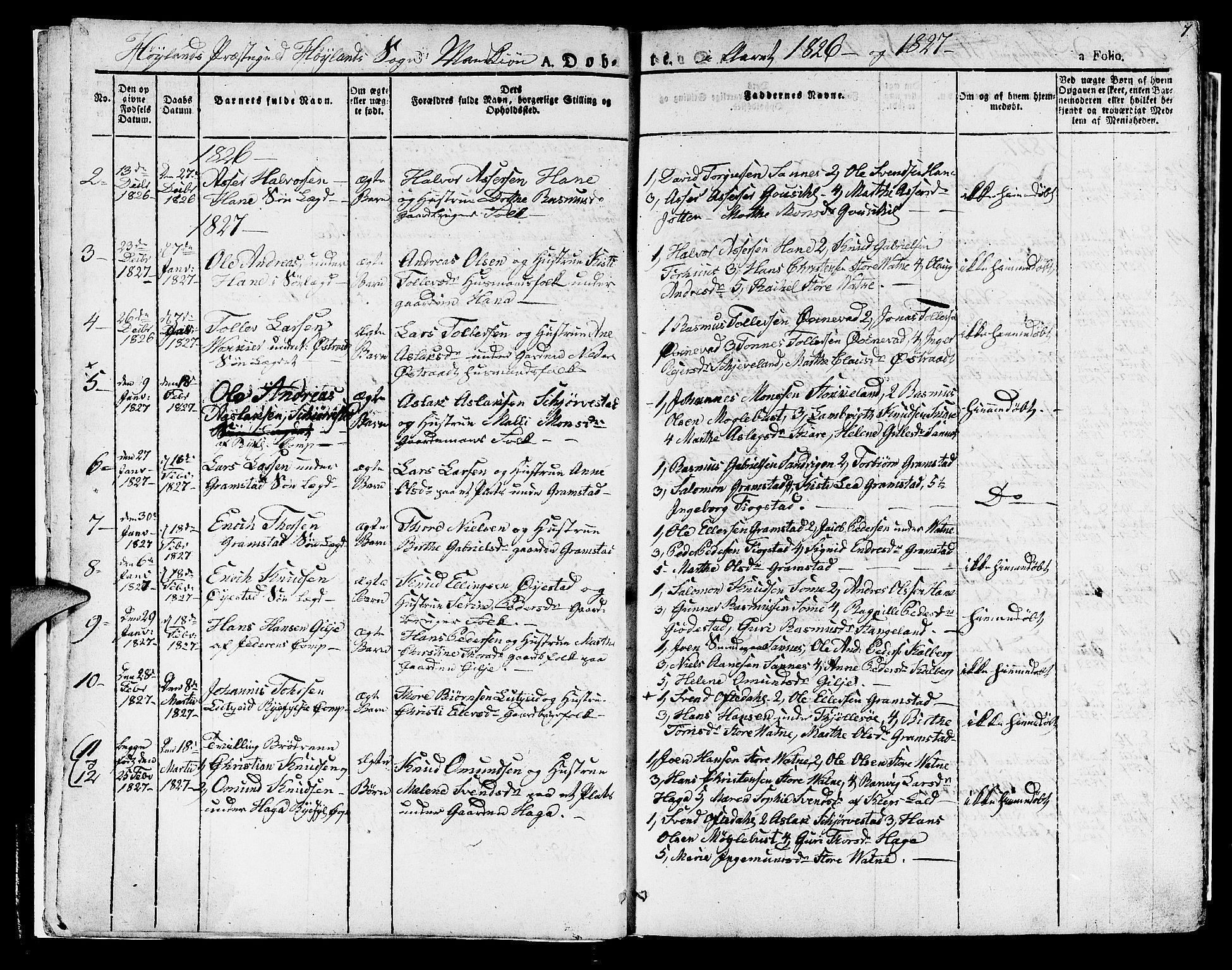 SAST, Høyland sokneprestkontor, 30BA/L0007: Ministerialbok nr. A 7 /1, 1825-1841, s. 7