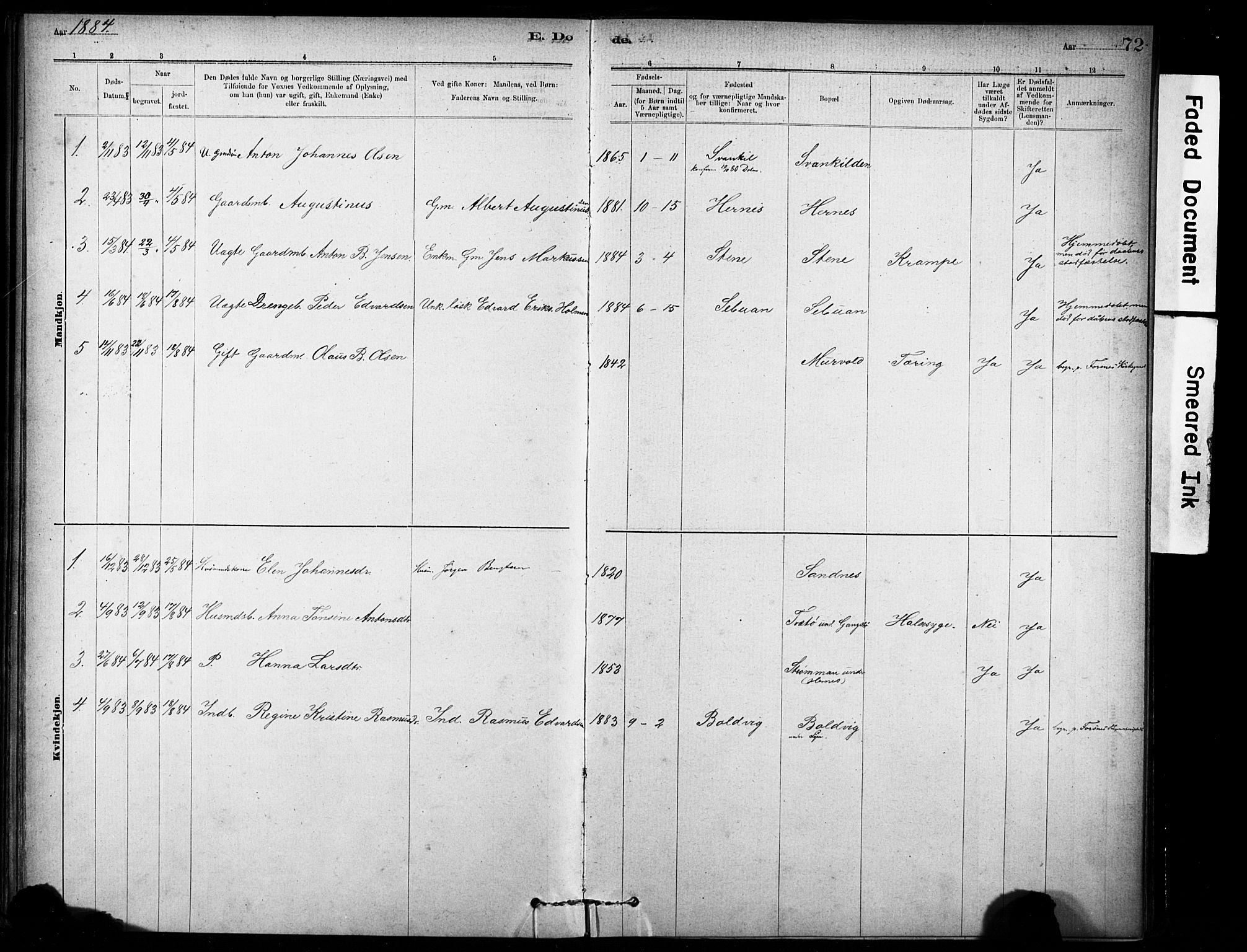 SAT, Ministerialprotokoller, klokkerbøker og fødselsregistre - Sør-Trøndelag, 635/L0551: Ministerialbok nr. 635A01, 1882-1899, s. 72