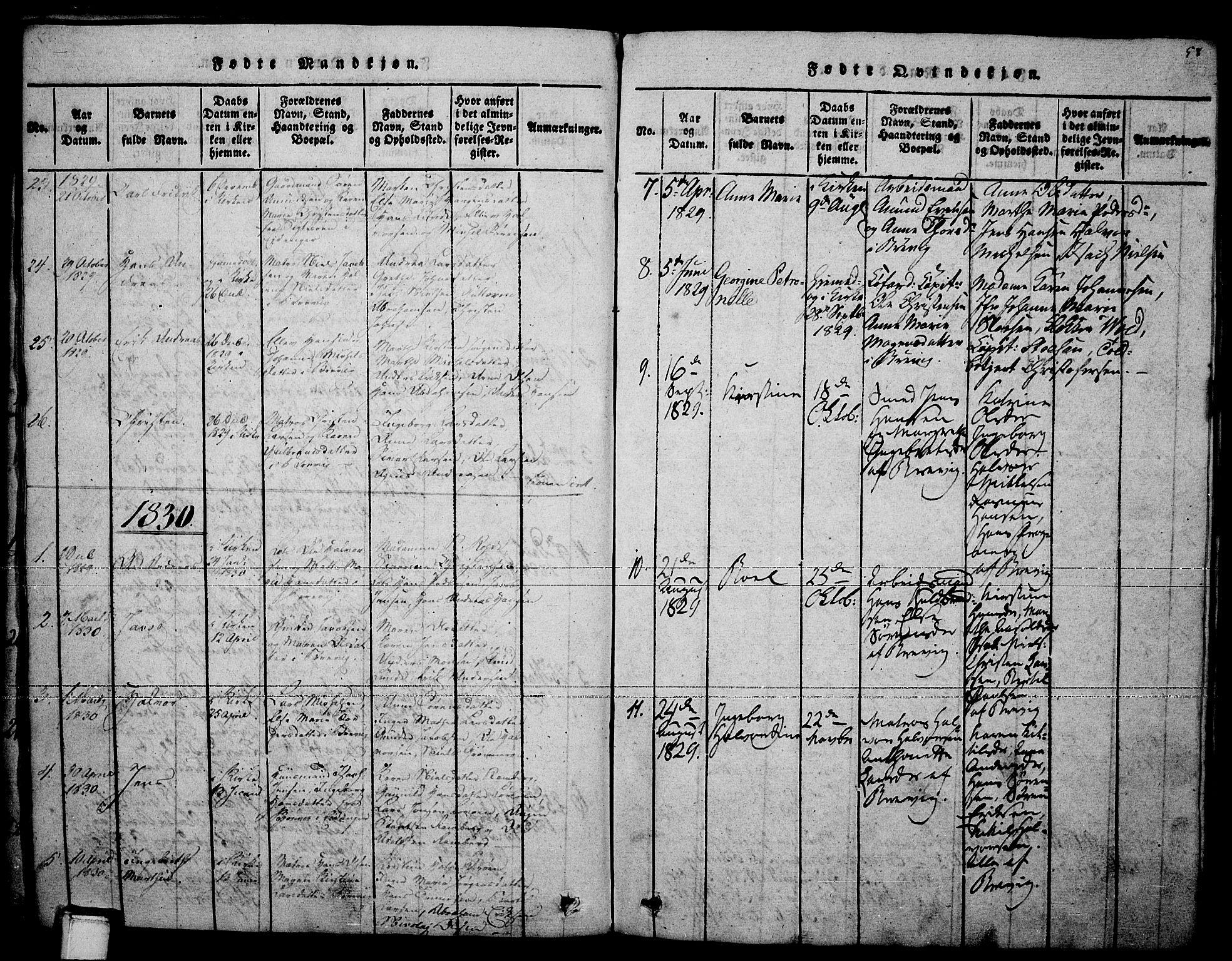 SAKO, Brevik kirkebøker, F/Fa/L0004: Ministerialbok nr. 4, 1814-1846, s. 58